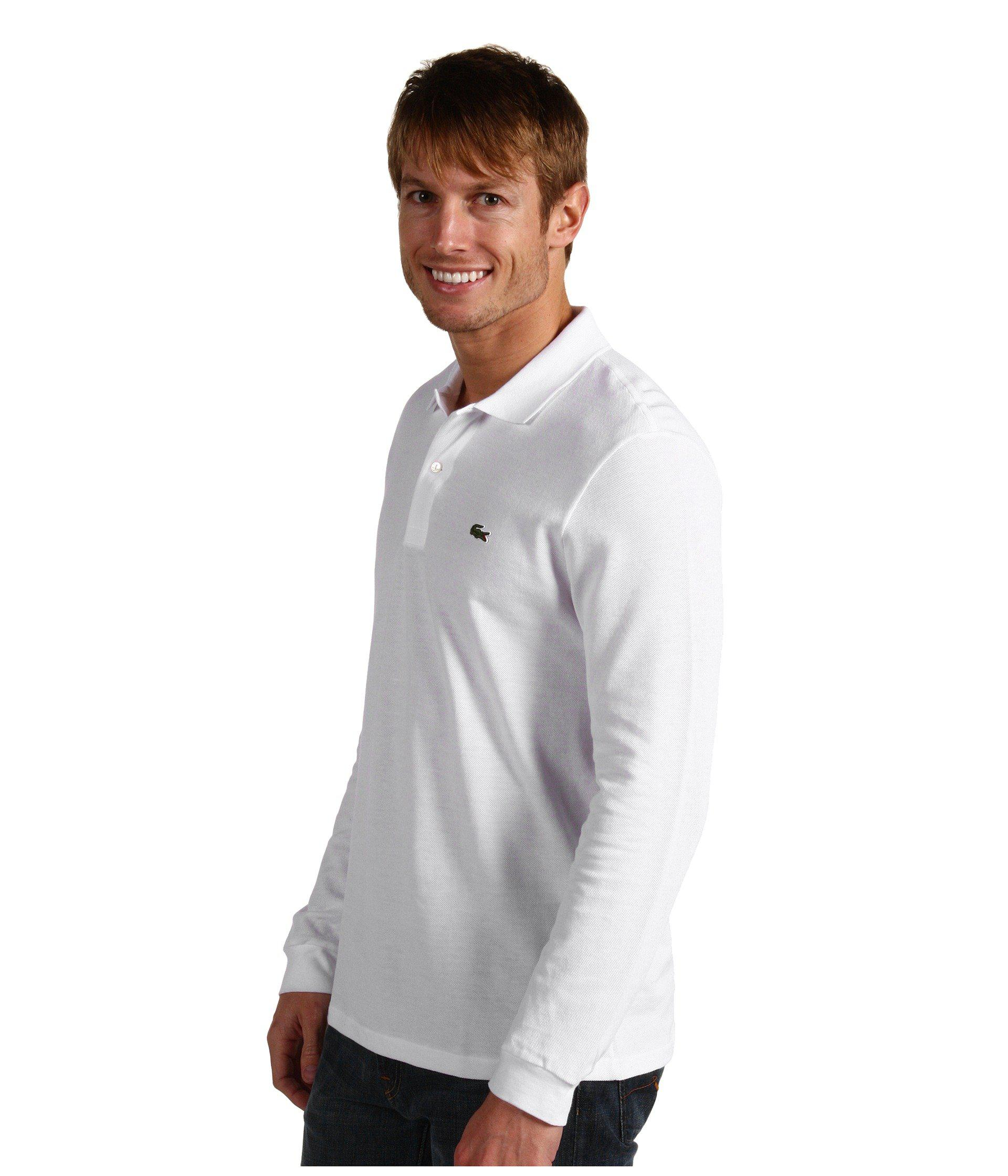 203cacf35283 Lyst - Lacoste Long Sleeve Classic Pique Polo Shirt (white) Men s Long  Sleeve Pullover in White for Men