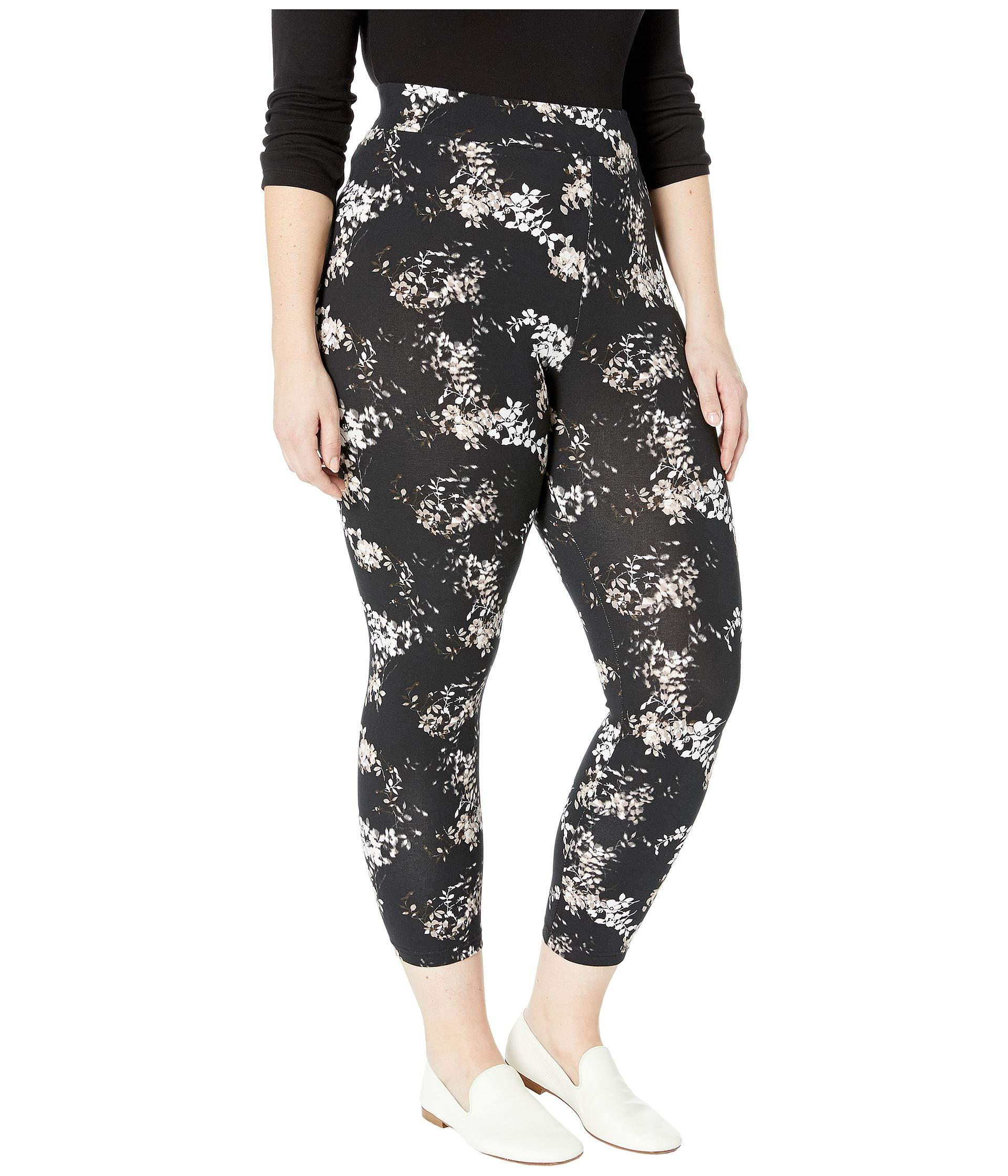 a8fb2f392b404 Hue Plus Size Watercolor Floral Cotton Capri Leggings (black ...