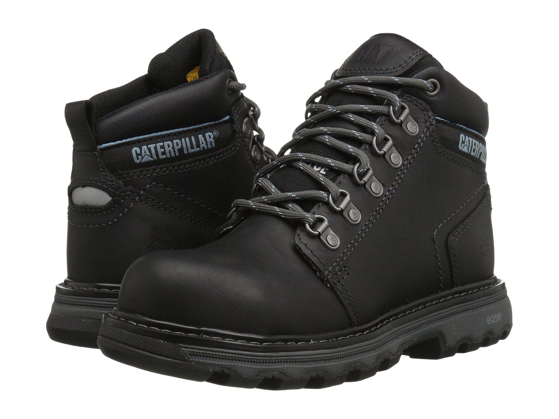 Black Ellie Steel Toe (buff) Women's Work Lace up Boots