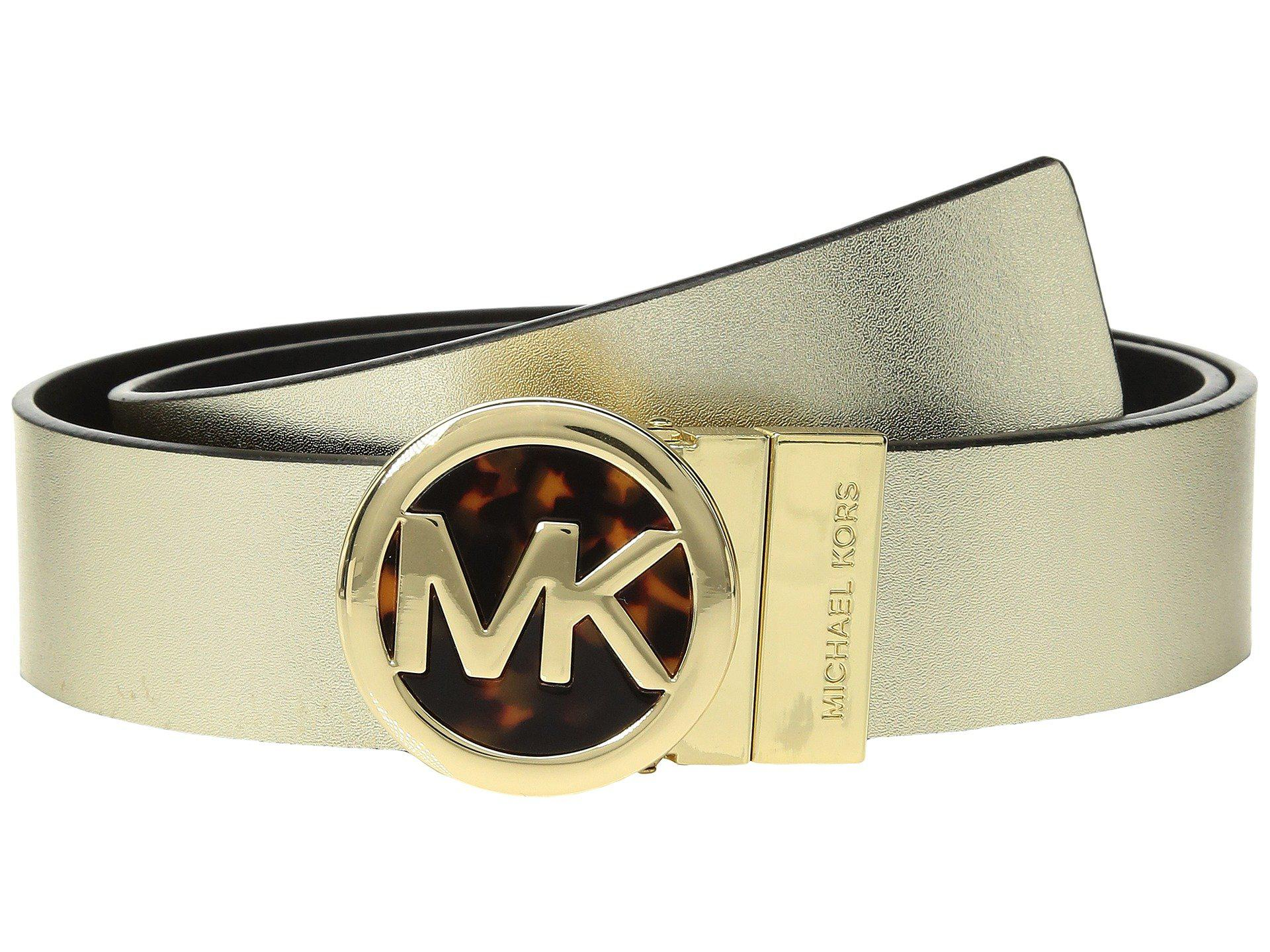 a29ebf99e0ab6 MICHAEL Michael Kors Smooth Leather Reversible Belt (metallic Gold ...