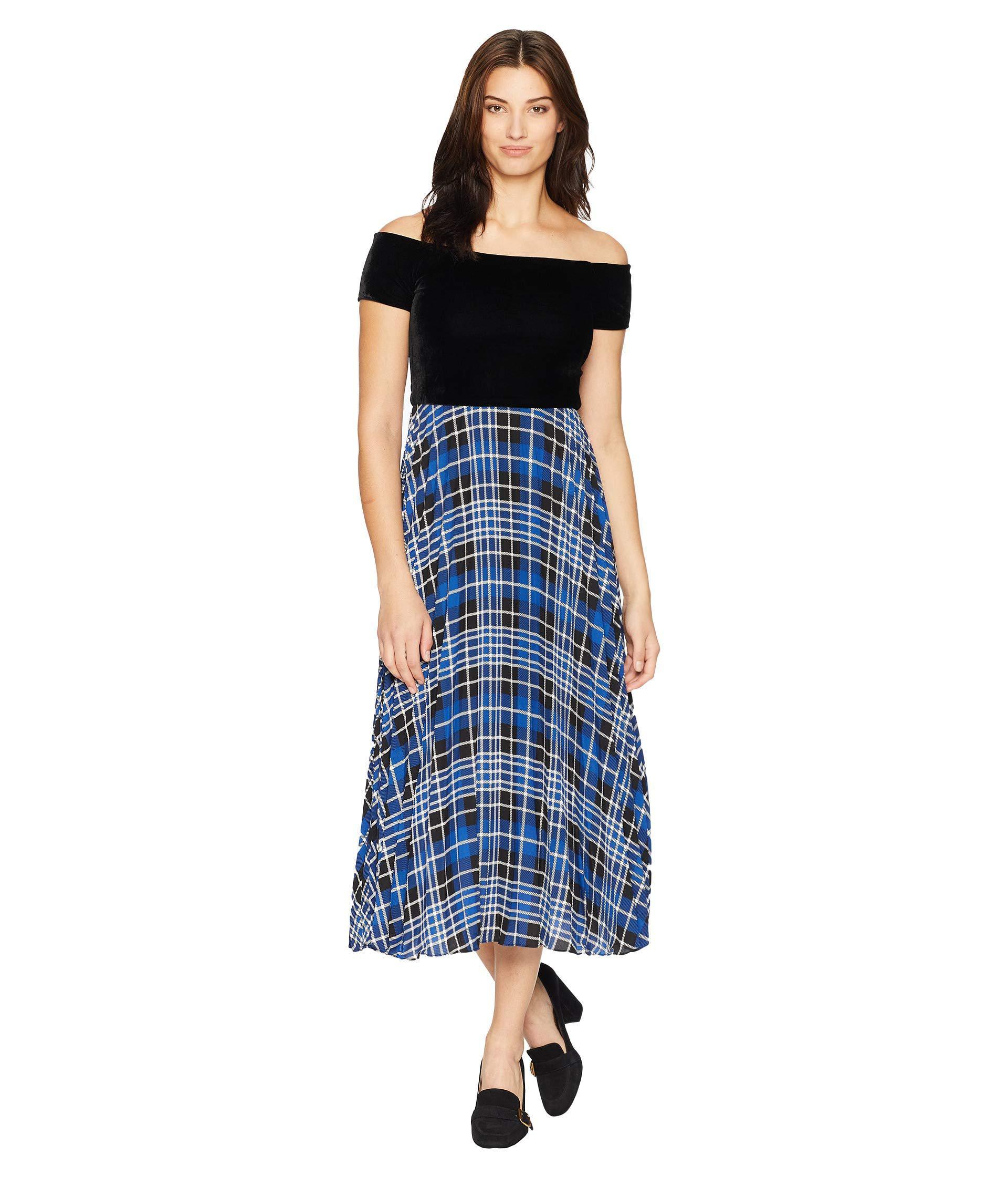 fbf155e13ca4 Lyst - Donna Morgan Off The Shoulder Midi Dress W  Pleated Skirt ...