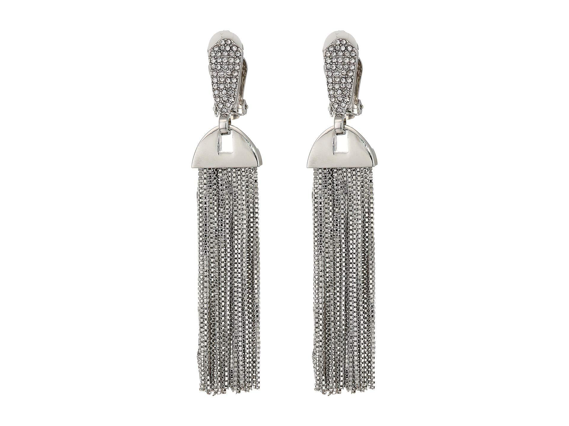 2ac0824d9 Lyst - Vince Camuto Pave Tassel Earrings (rhodium/crystal) Earring