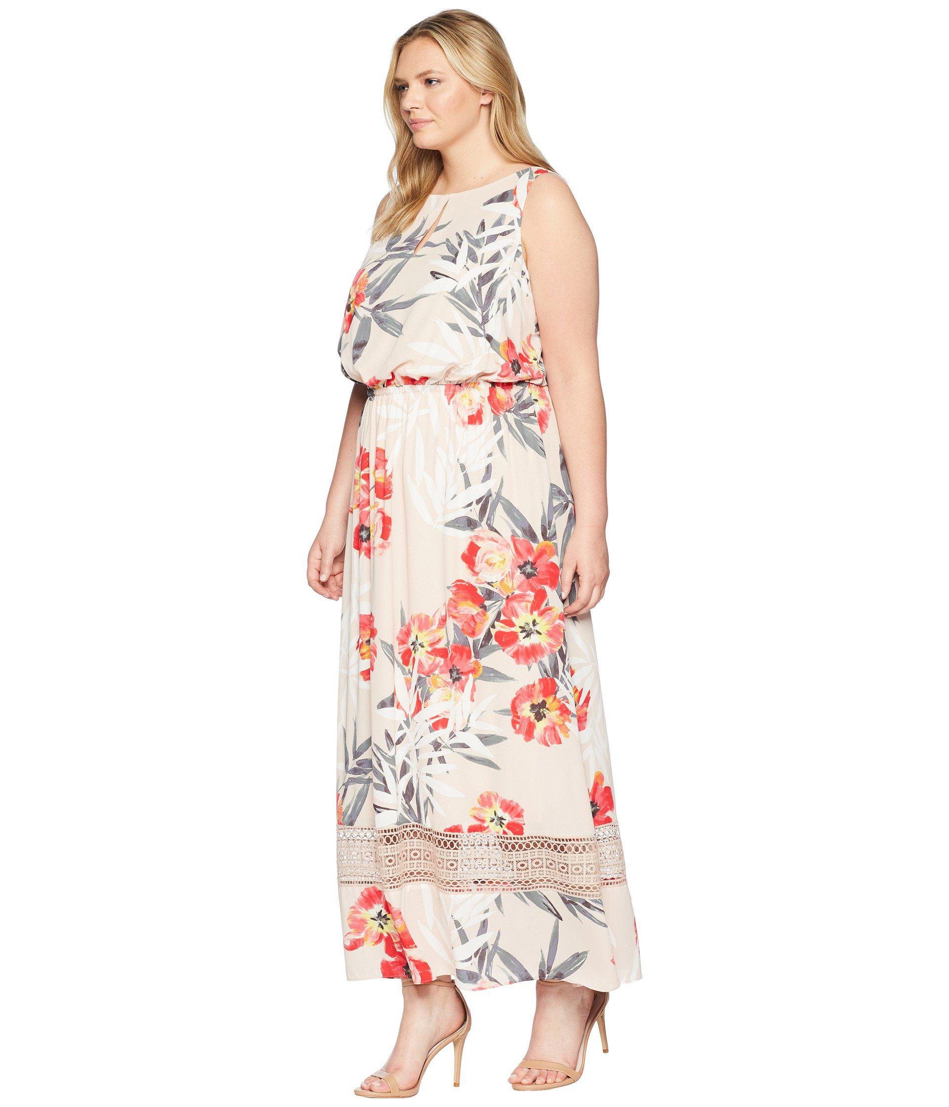 Women\'s Plus Size Tropical Breeze Maxi Dress (geranium Multi) Dress