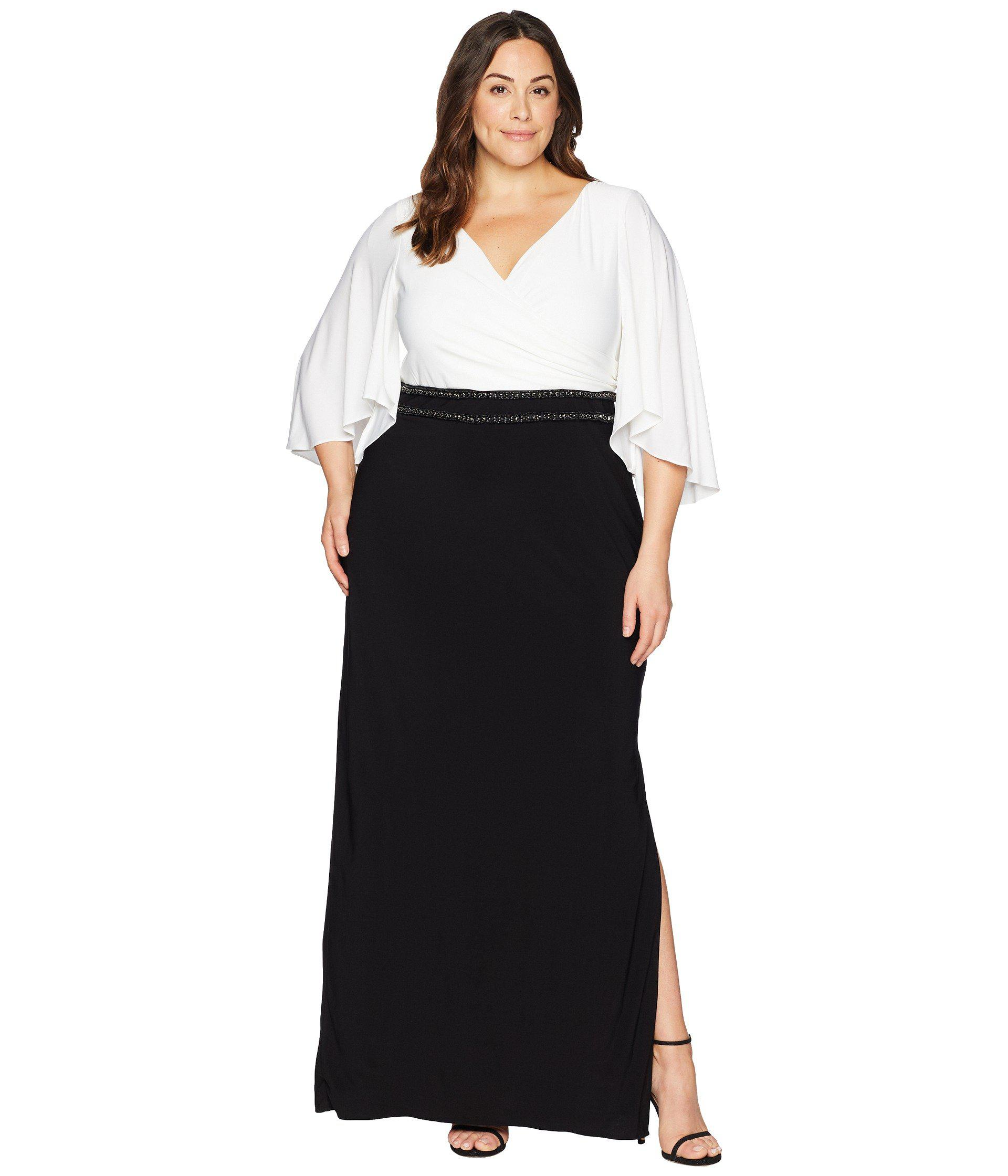 Lyst - Adrianna Papell Plus Size Elbow Sleeve V-neck Jersey Color ...