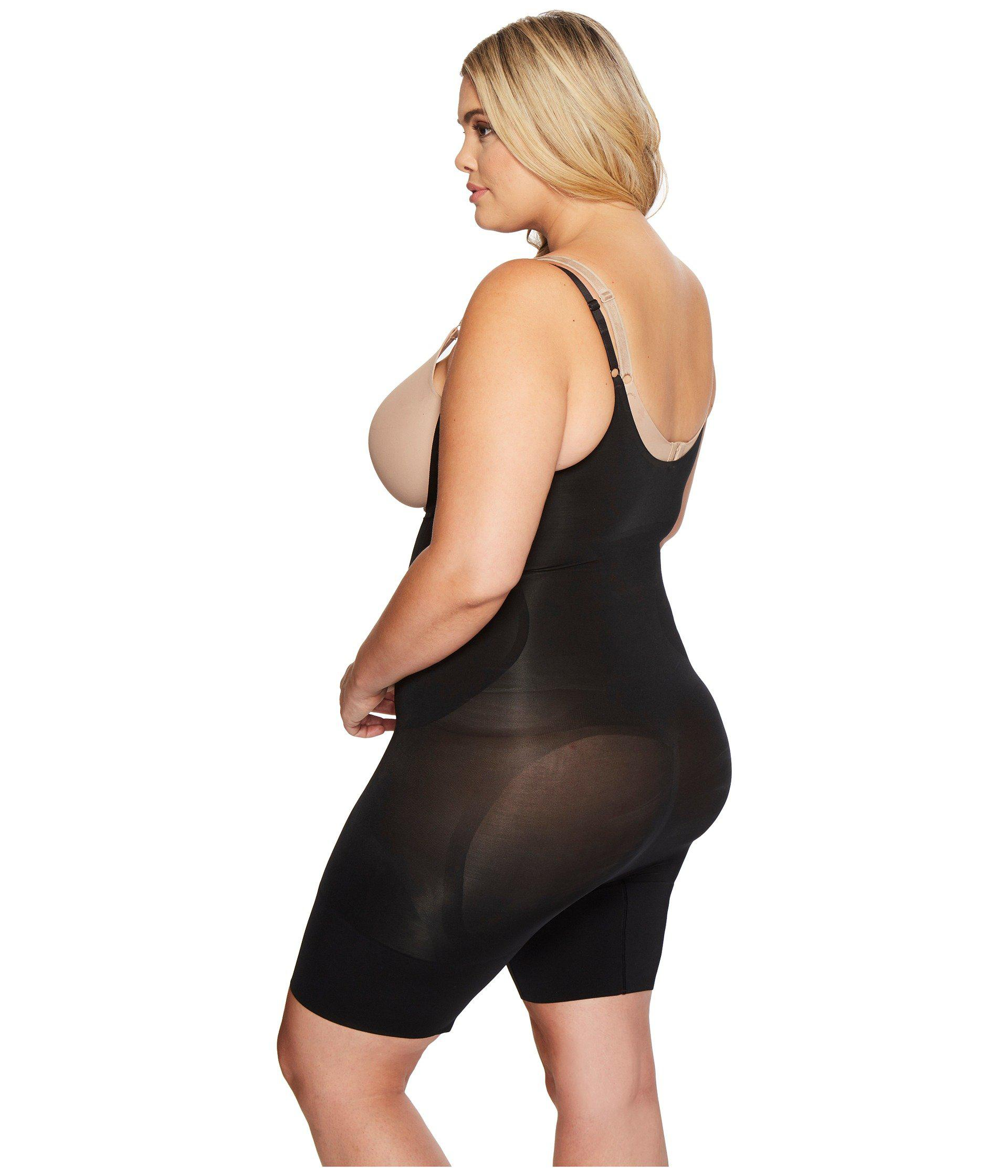 59a66f68aad3b Spanx - Black Plus Size Oncore Open-bust Mid-thigh Bodysuit (soft Nude.  View fullscreen