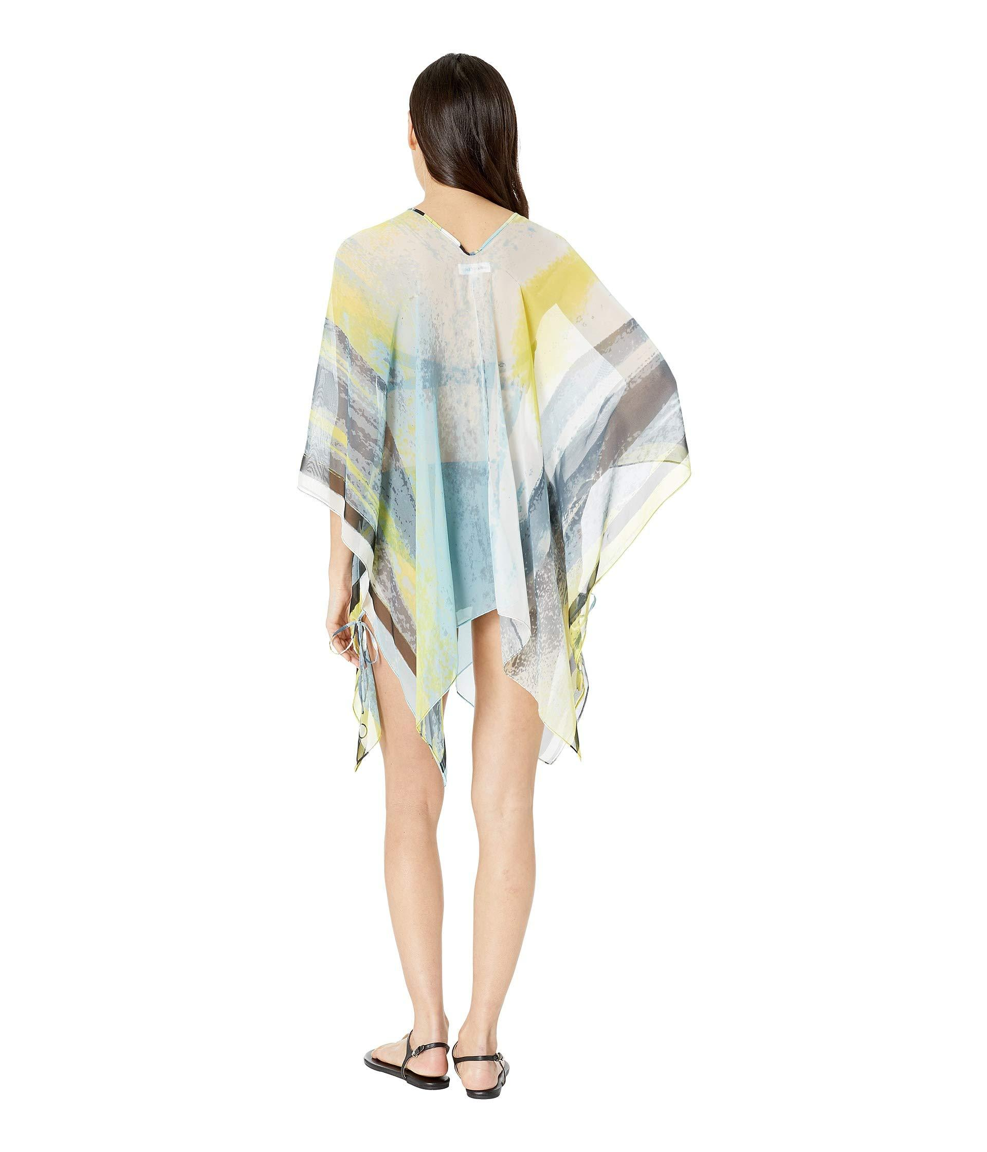 Calvin Klein Abstract Cloud Chiffon Poncho Cover Up Top Lime Women S Swimwear In Blue Lyst