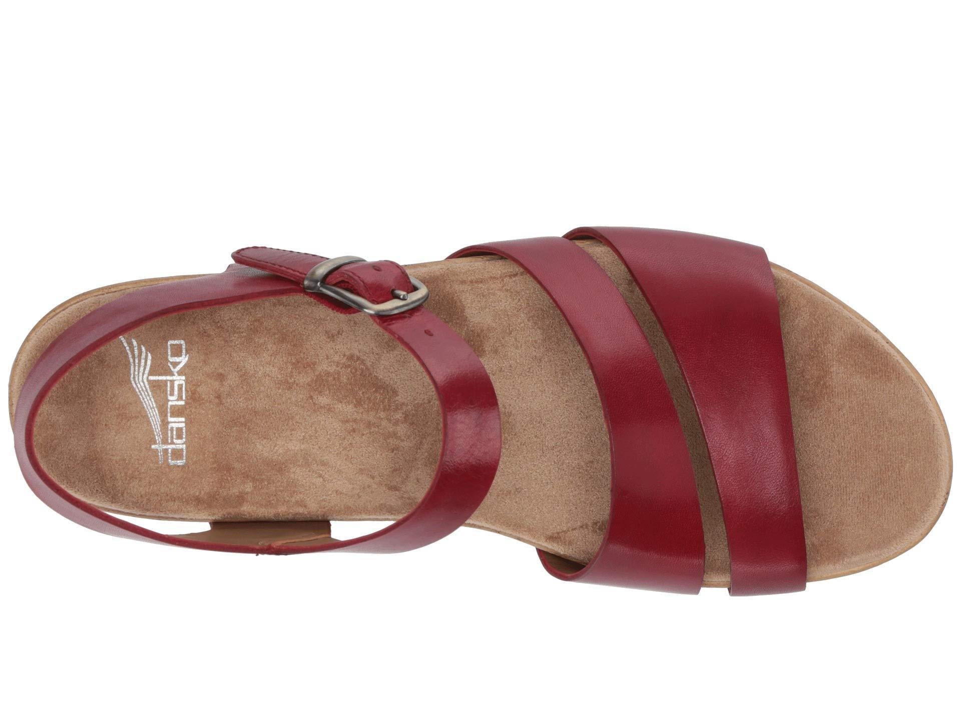 6e6a7c10dfff Lyst - Dansko Lindsay (black Burnished Calf) Women s Sandals in Red