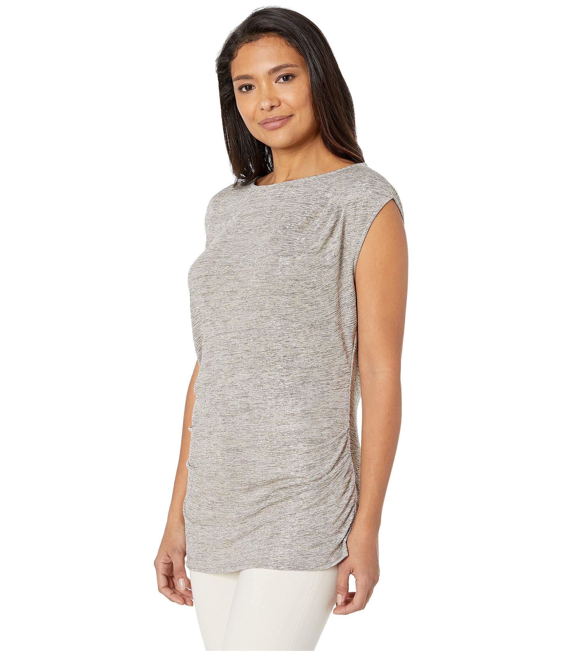 eb3e46a514971 Lyst - Calvin Klein Sleeveless Top With Ruching (gold) Women s Sleeveless  in Metallic
