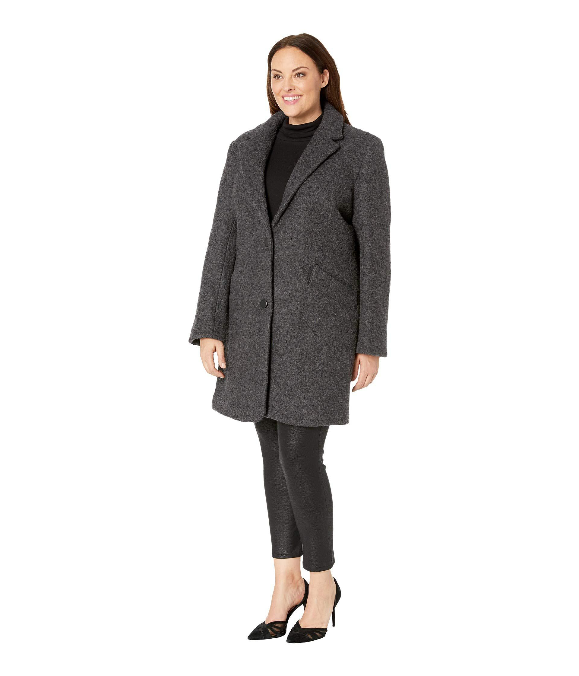 1fedd6fe2631b Lyst - Marc New York Plus Size Paige - Pressed Boucle (charcoal) Women s  Coat in Black