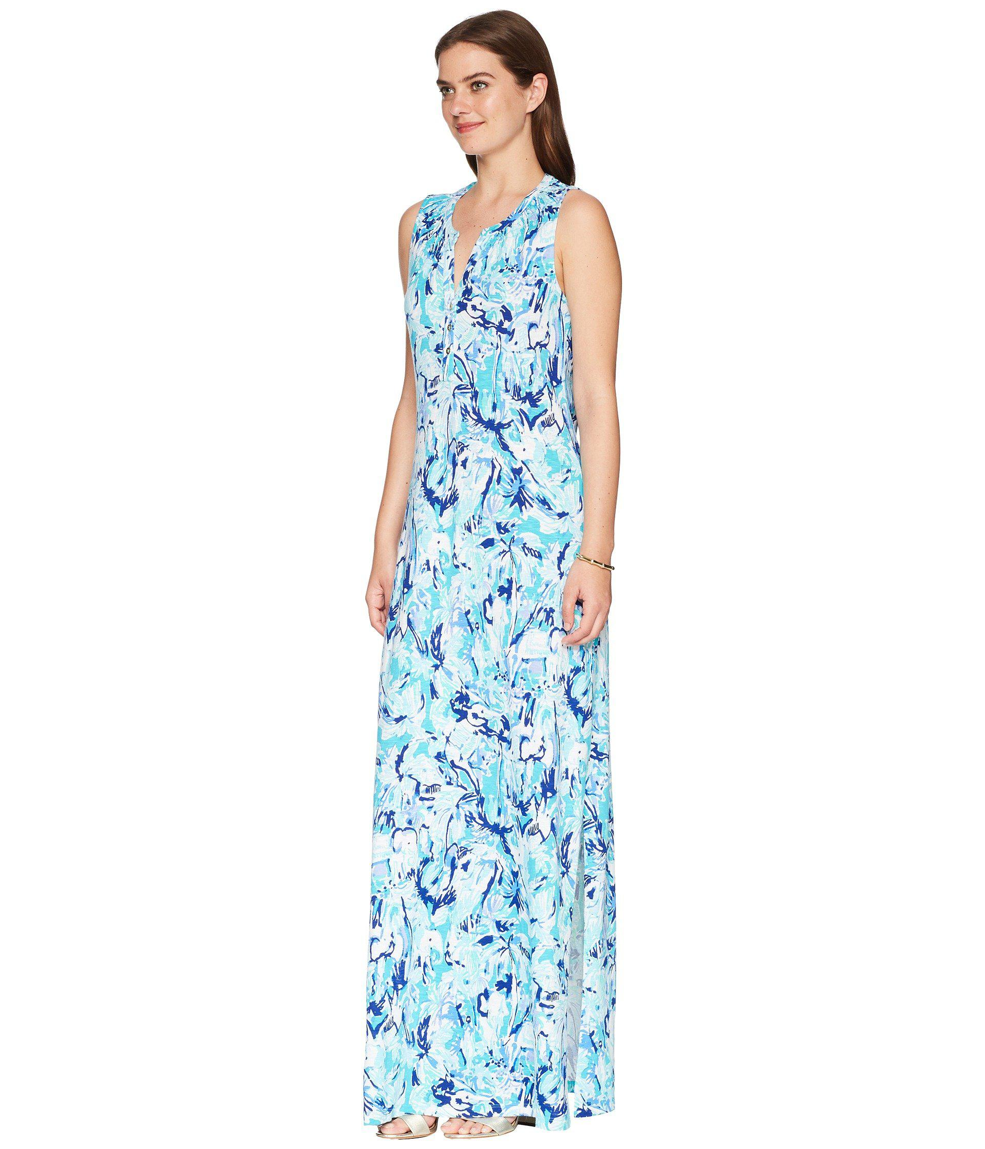 7fb07eefec Lilly Pulitzer Essie Maxi Dress (tropical Turquoise Elephant Appeal) Women s  Dress in Blue - Save 40% - Lyst