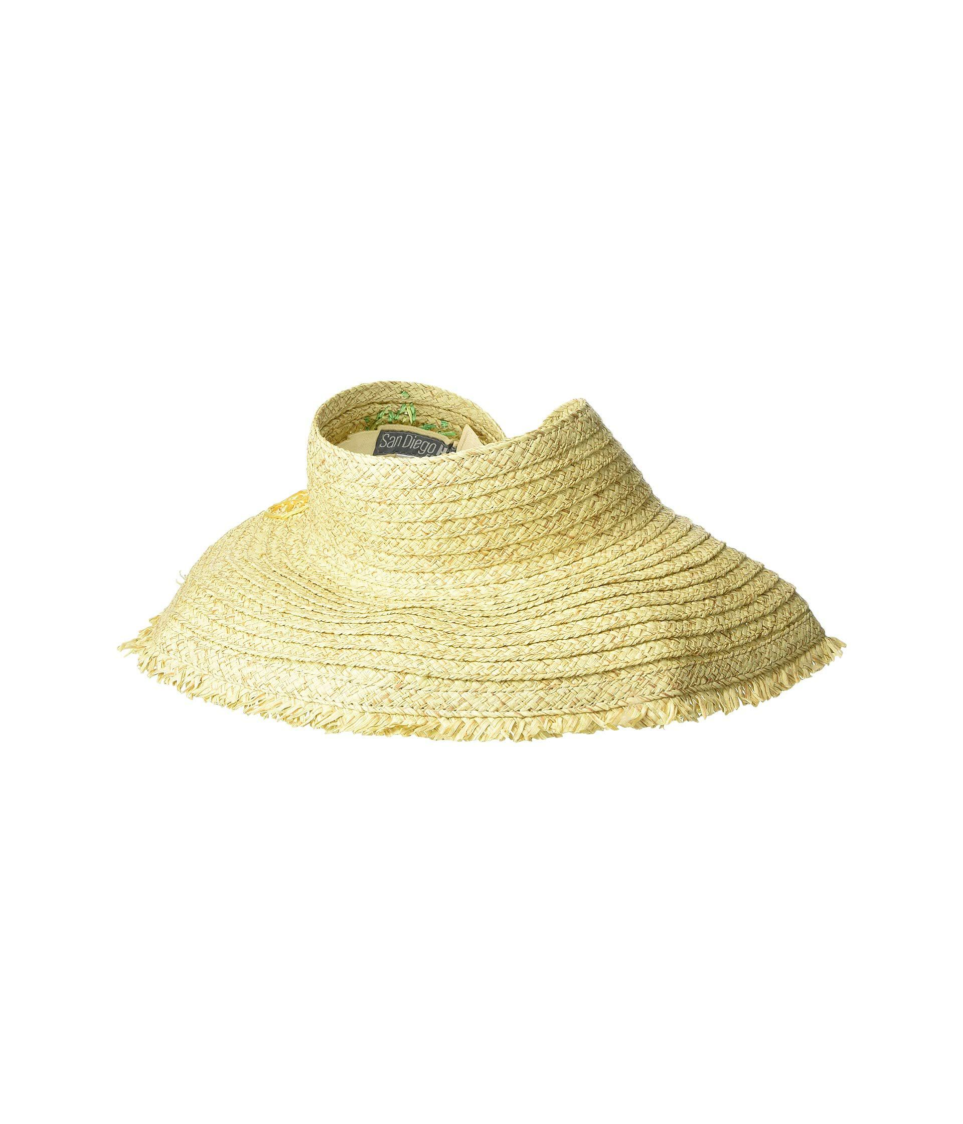 90648407 San Diego Hat Company Pbv016 - Paper Straw Visor With Embroidered ...