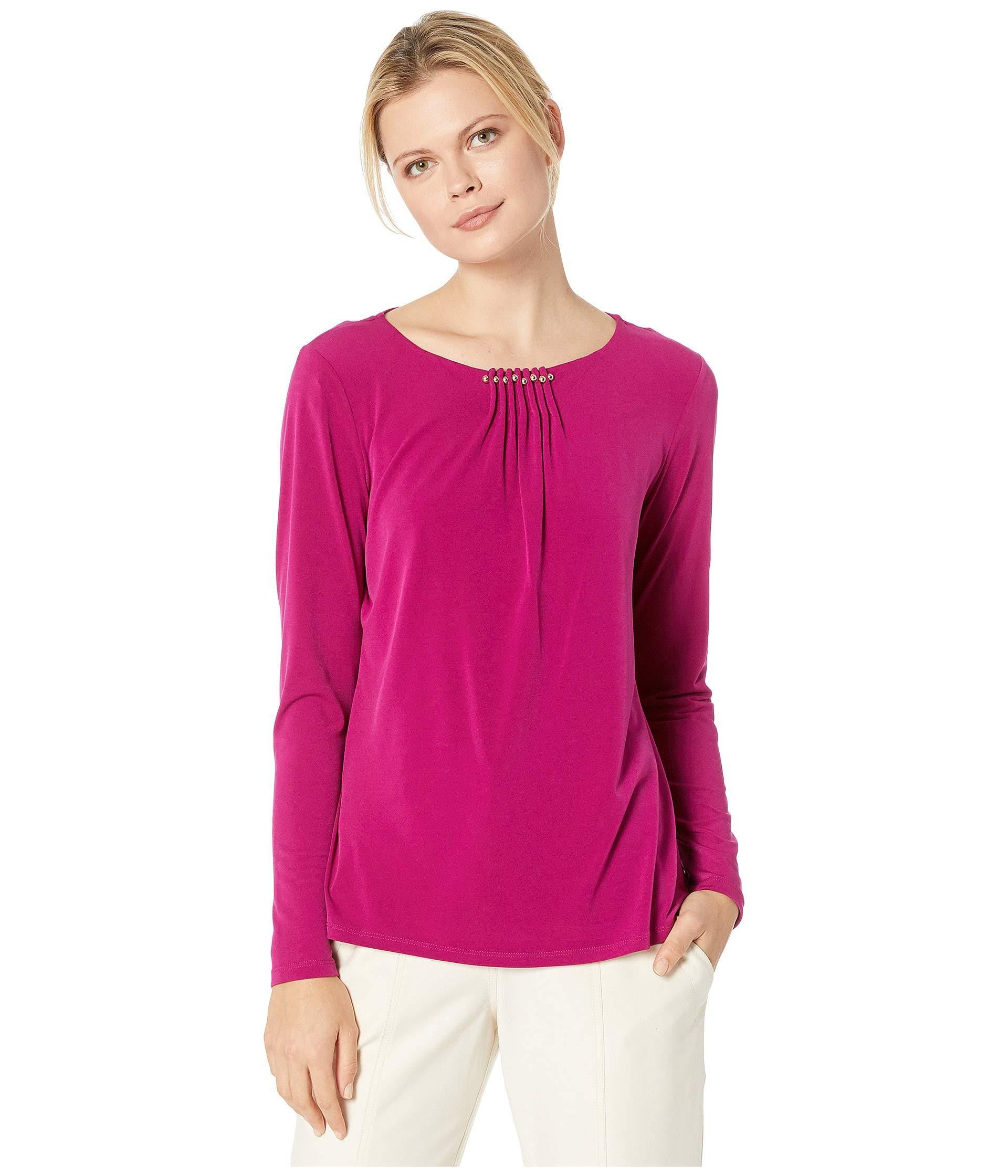 02580fdc39335 Lyst - Ivanka Trump Long Sleeve Matte Jersey Chain Hardware Top ...