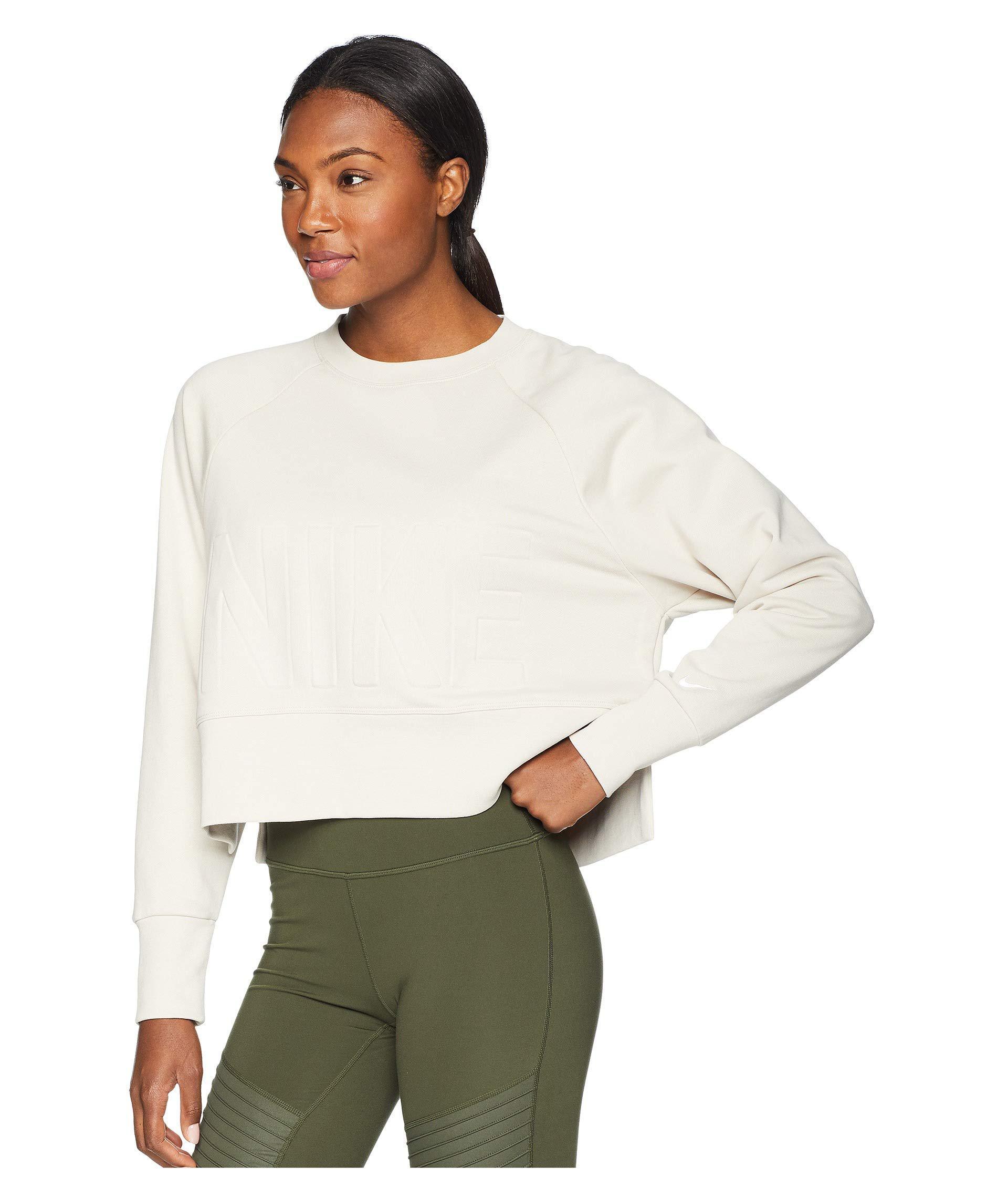 b4f8e0caba2921 Lyst - Nike Versa Crew Top (desert Sand white) Women s Long Sleeve ...