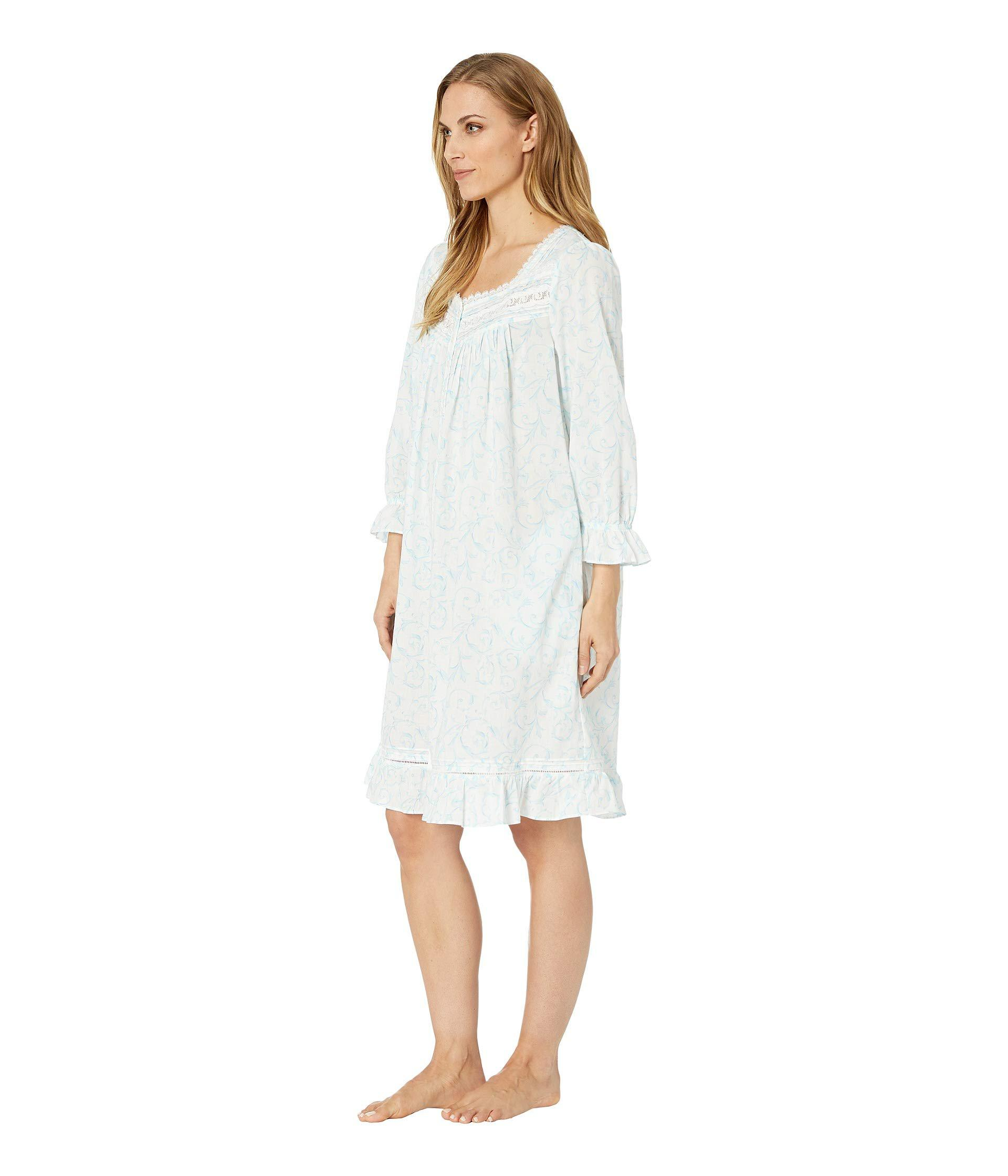 b2a56125e8 Lyst - Eileen West Cotton Lawn Short Button Front Coat (white Ground  Scroll) Women s Robe in White