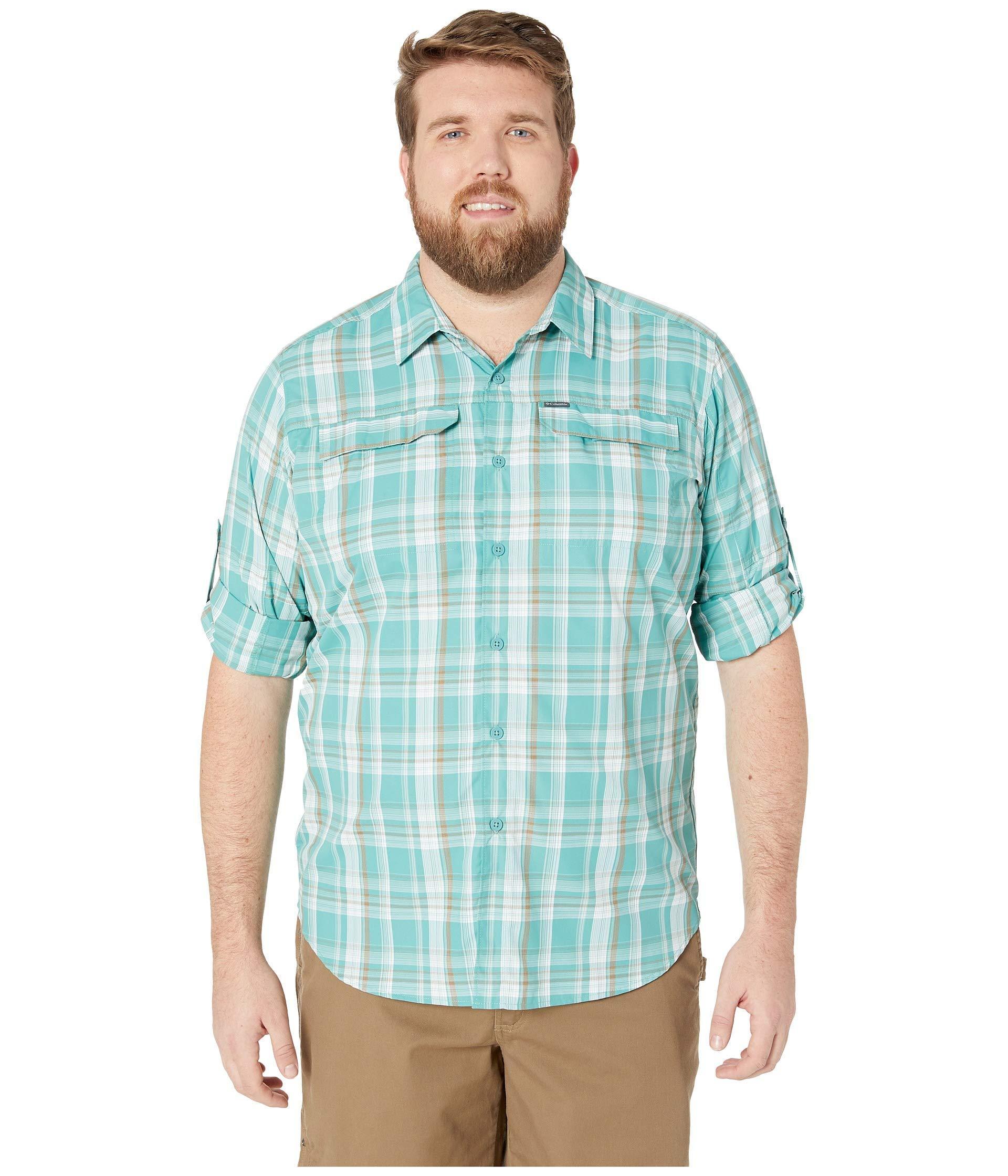 02167127732 Columbia. Blue Big And Tall Silver Ridge 2.0 Plaid Long Sleeve Shirt ...