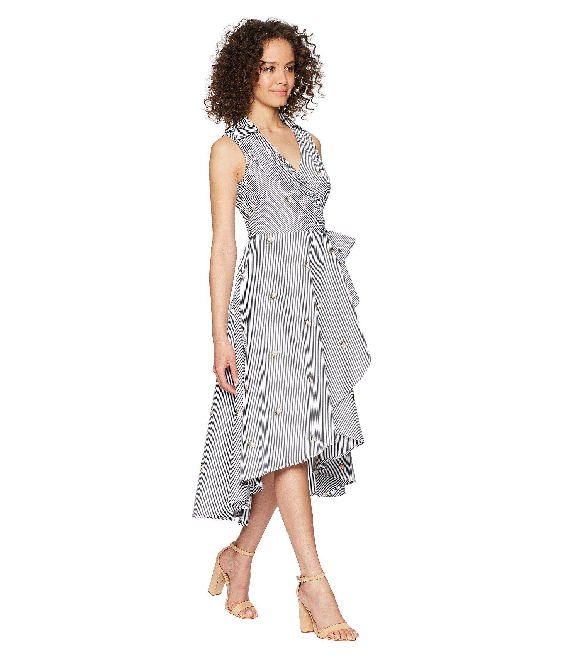 Lyst Calvin Klein Flower Embroidered High Low Dress With Tie Waist