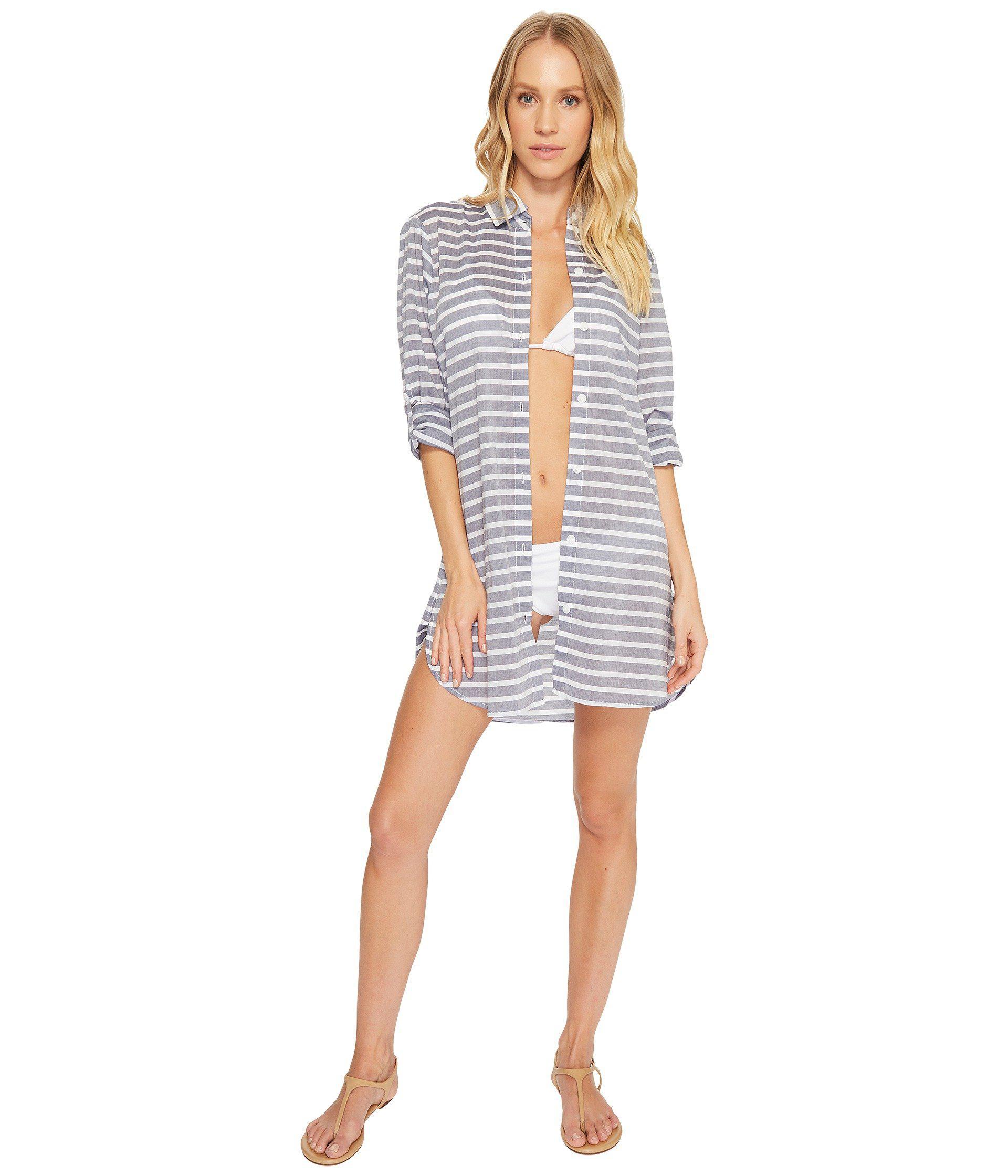 1291e2b8d7f3e Tommy Bahama Breton Stripe Boyfriend Shirt Cover-up (mare Navy ...