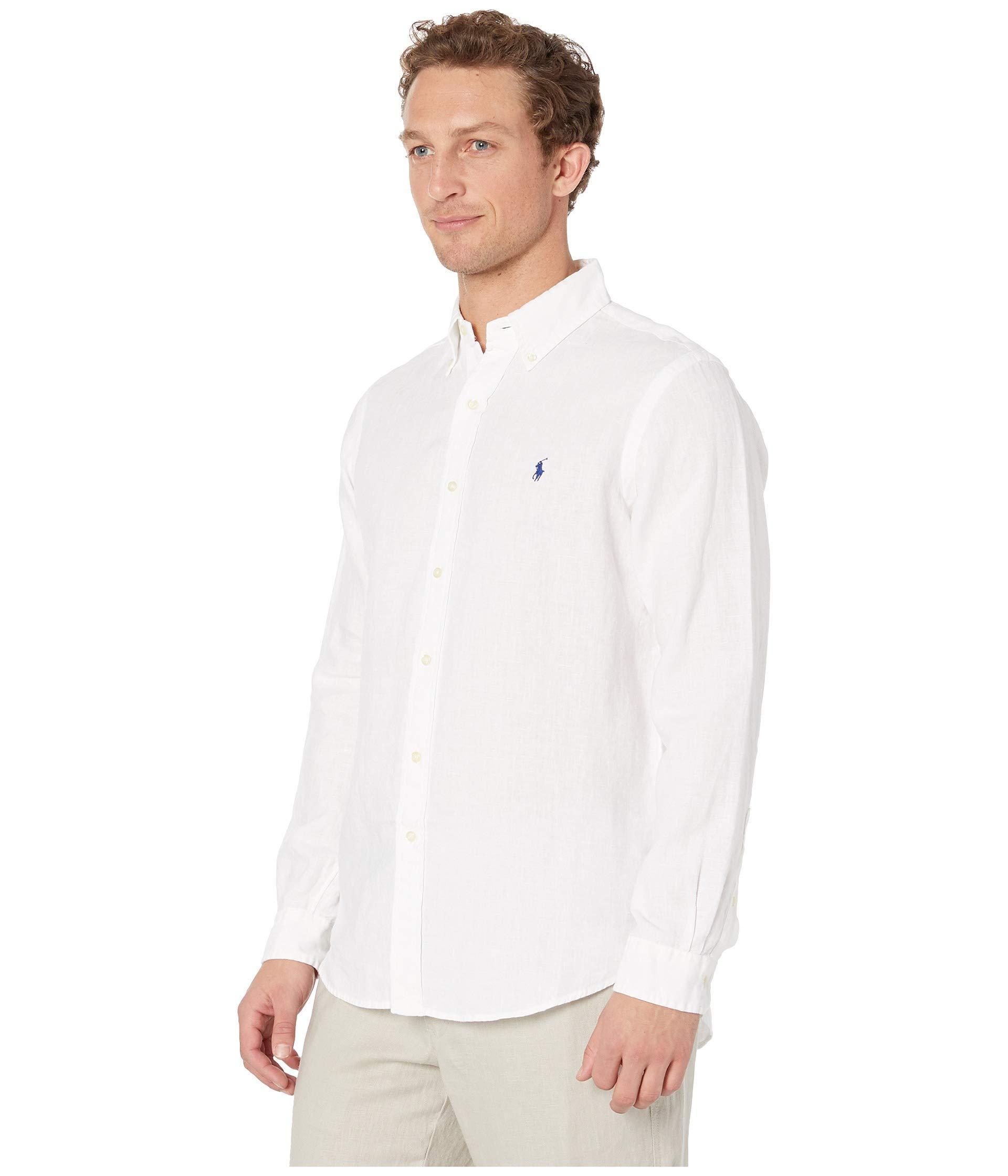 6b1284ead Lyst - Polo Ralph Lauren Long Sleeve Classic Fit Linen Woven (riviera Blue)  Men s Clothing in White for Men