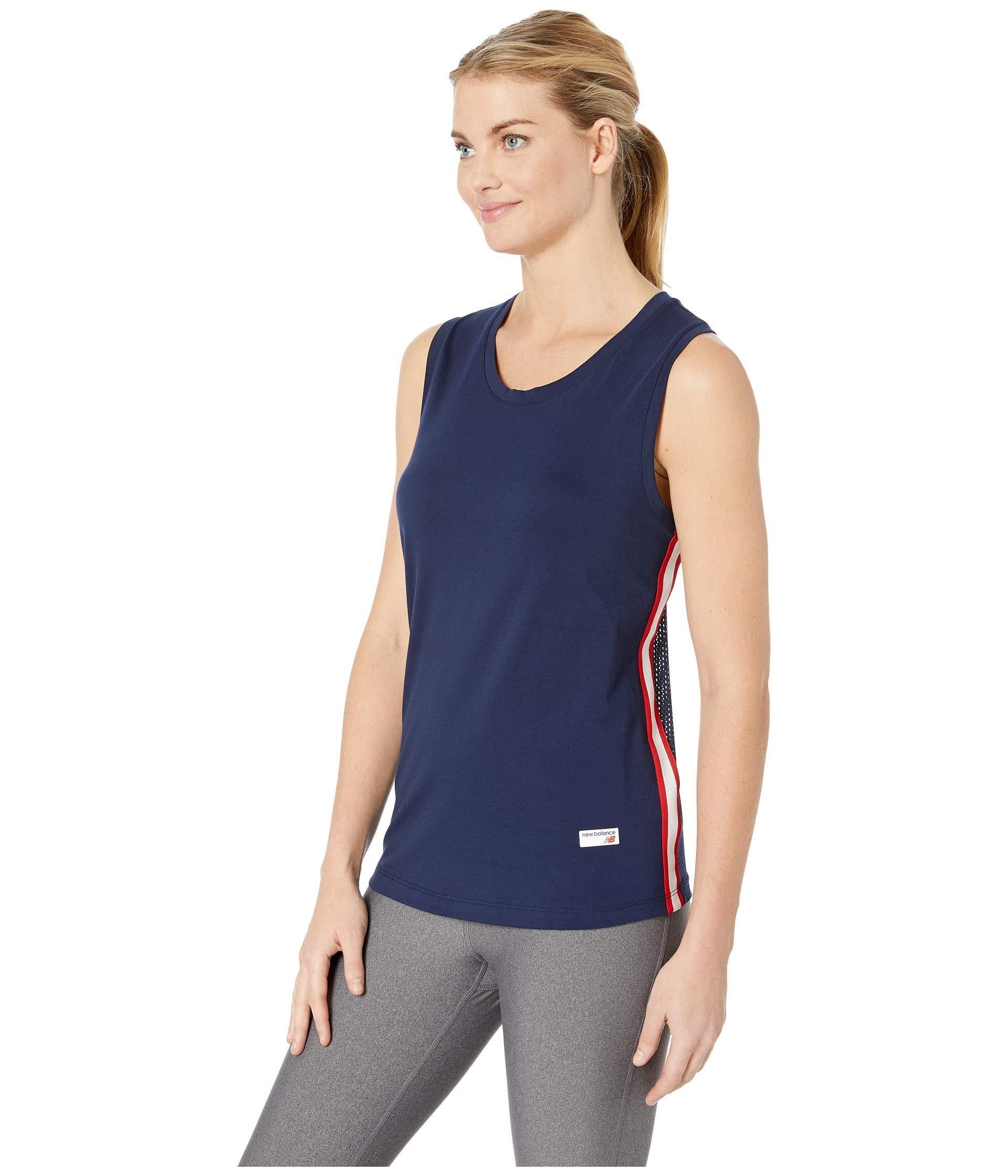 029ed05c2e981 Lyst - New Balance Athletics Racerback Tank Top (black white) Women s  Sleeveless in Blue