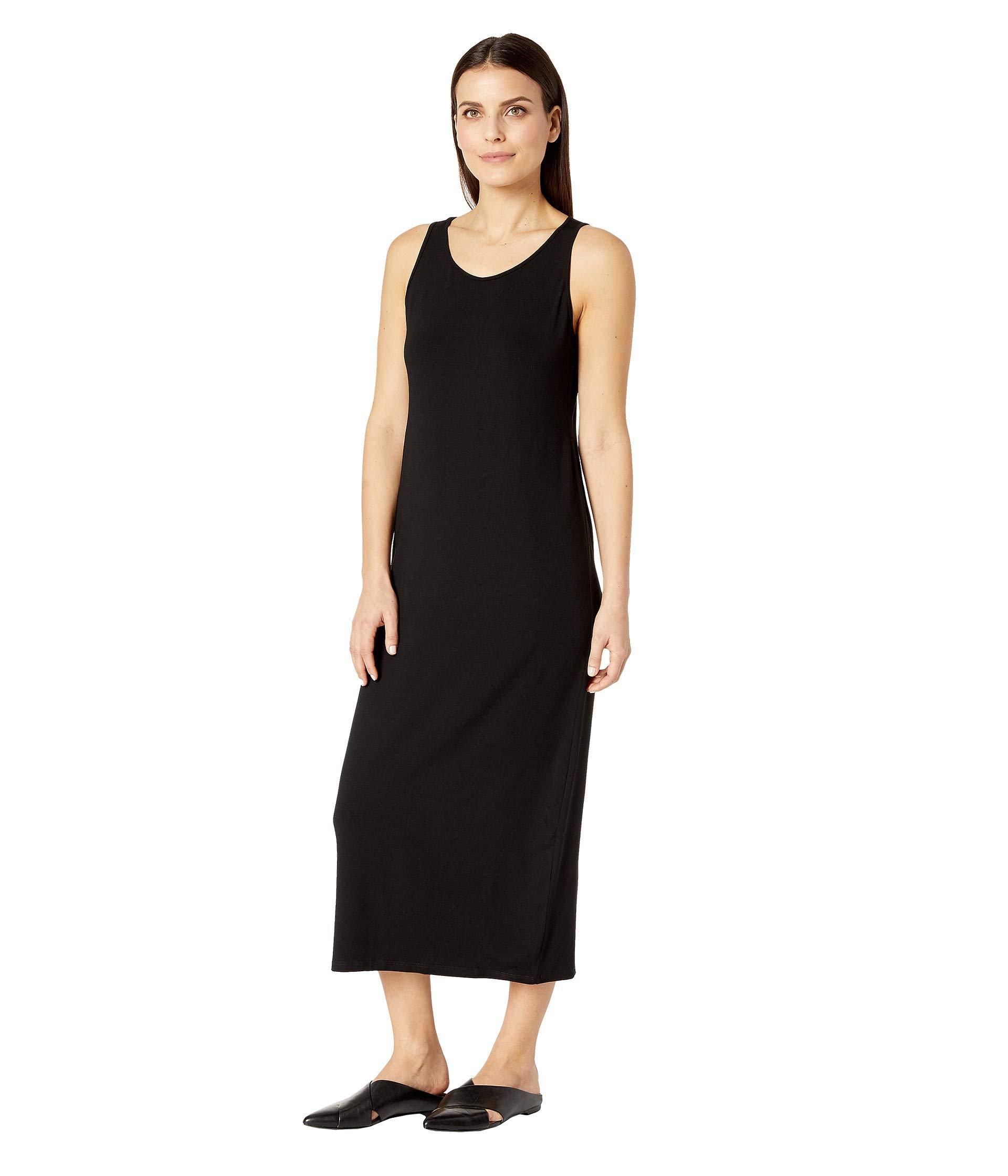 c75d031d8f00ba Lyst - Eileen Fisher Petite Viscose Jersey Scoop Neck Dress (black) Women s  Dress in Black