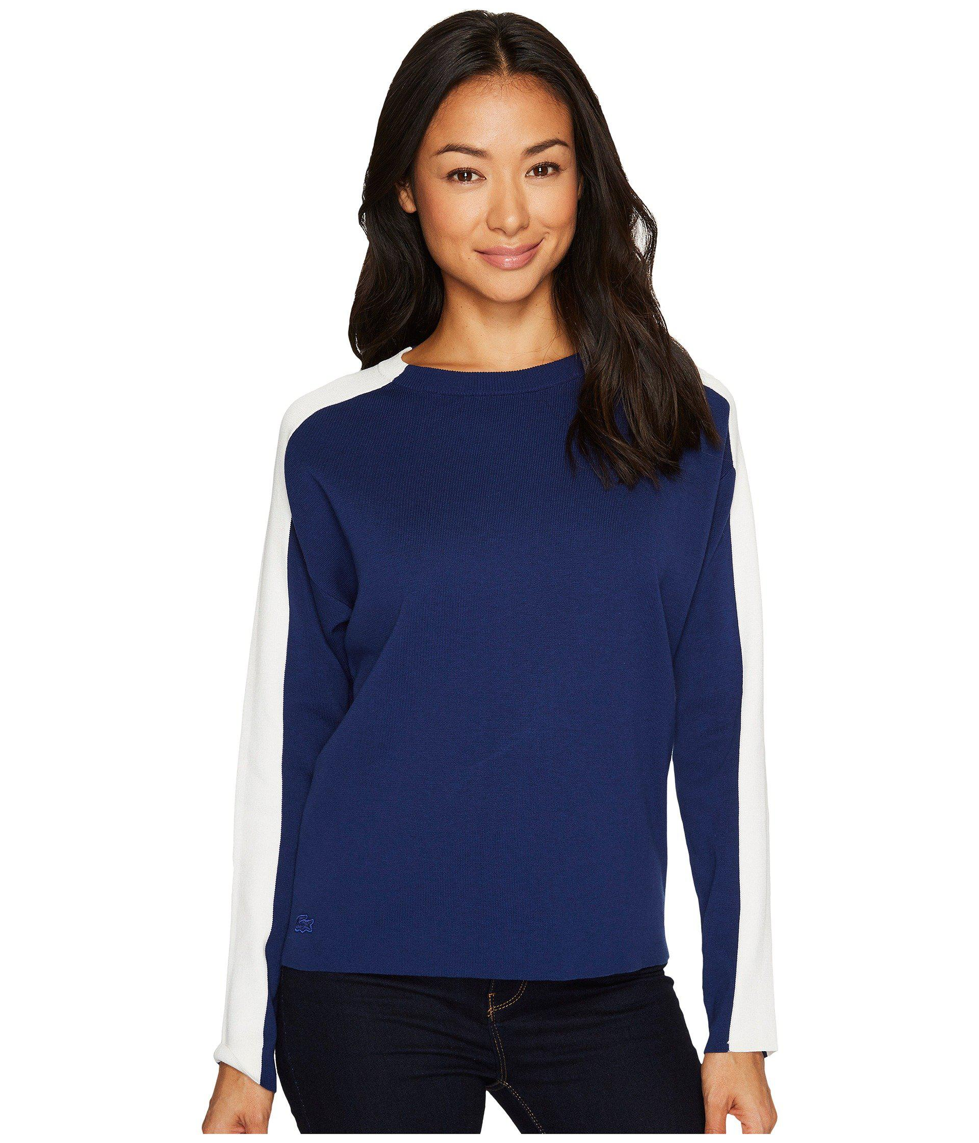 Lacoste Womens Colorblock Double Face Jacquard Cotton//Wool Sweater