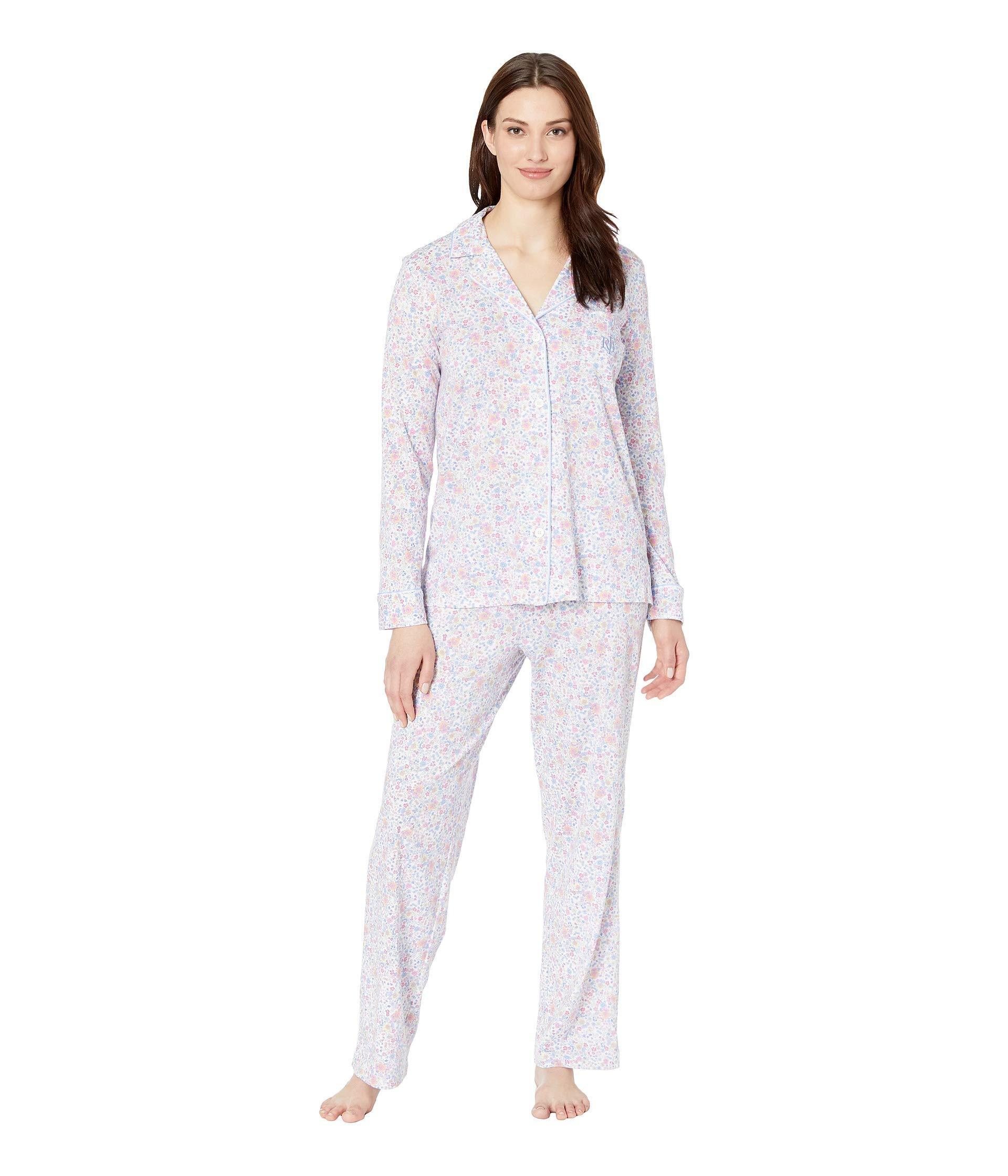 a21a490d Lyst - Lauren by Ralph Lauren Knit Notch Collar Pajama Set (multi ...