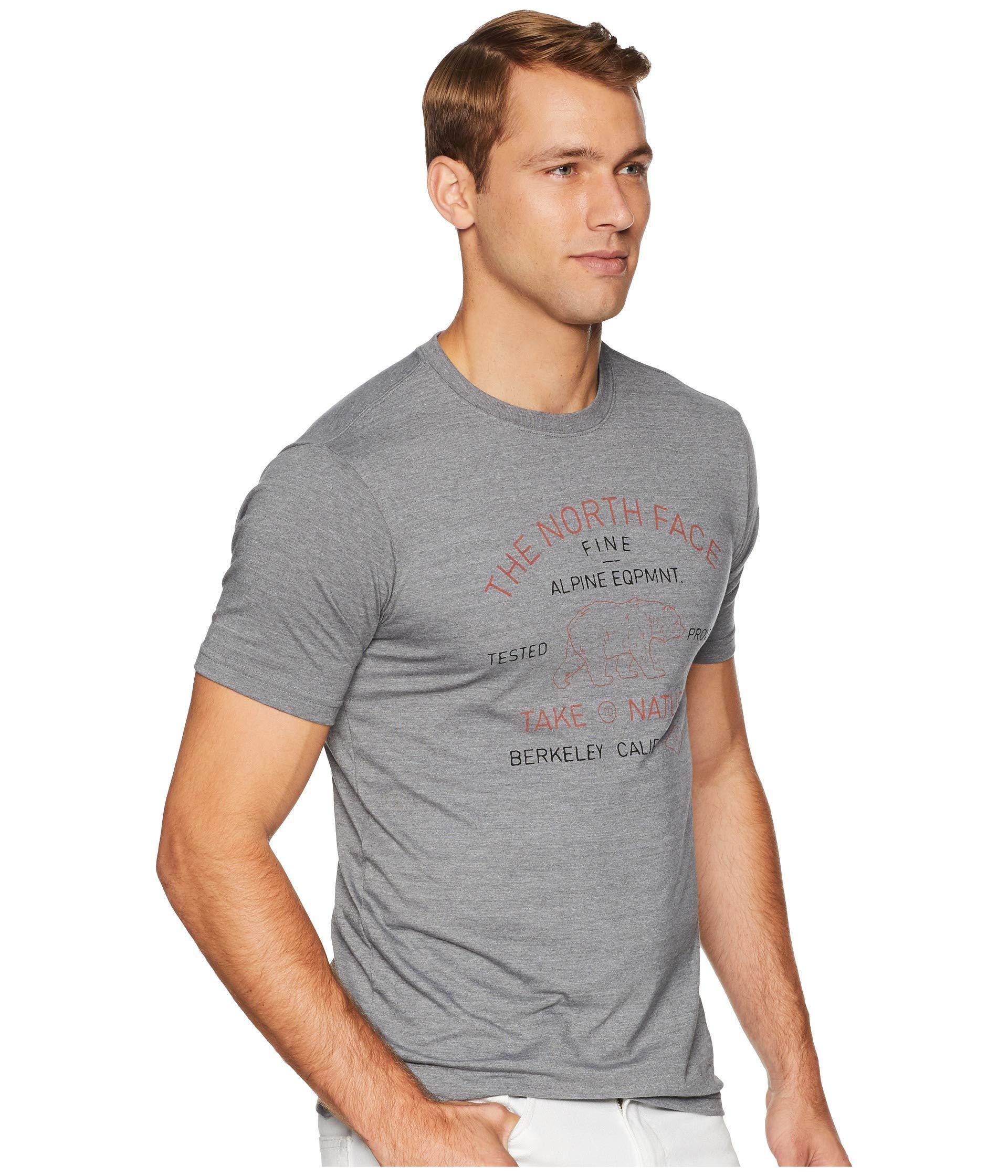 f12839537 The North Face Gray Short Sleeve Tri-blend Edge To Edge Bear Tee (tnf  Medium Grey Heather) Men's T Shirt for men