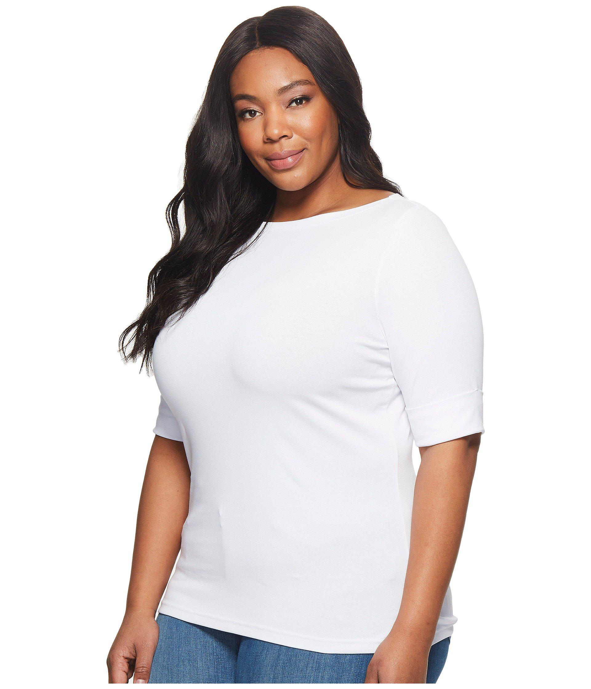 cff54427a5c Lyst - Lauren by Ralph Lauren Plus Size Stretch Cotton Boat Neck Tee (navy) Women s  T Shirt in White