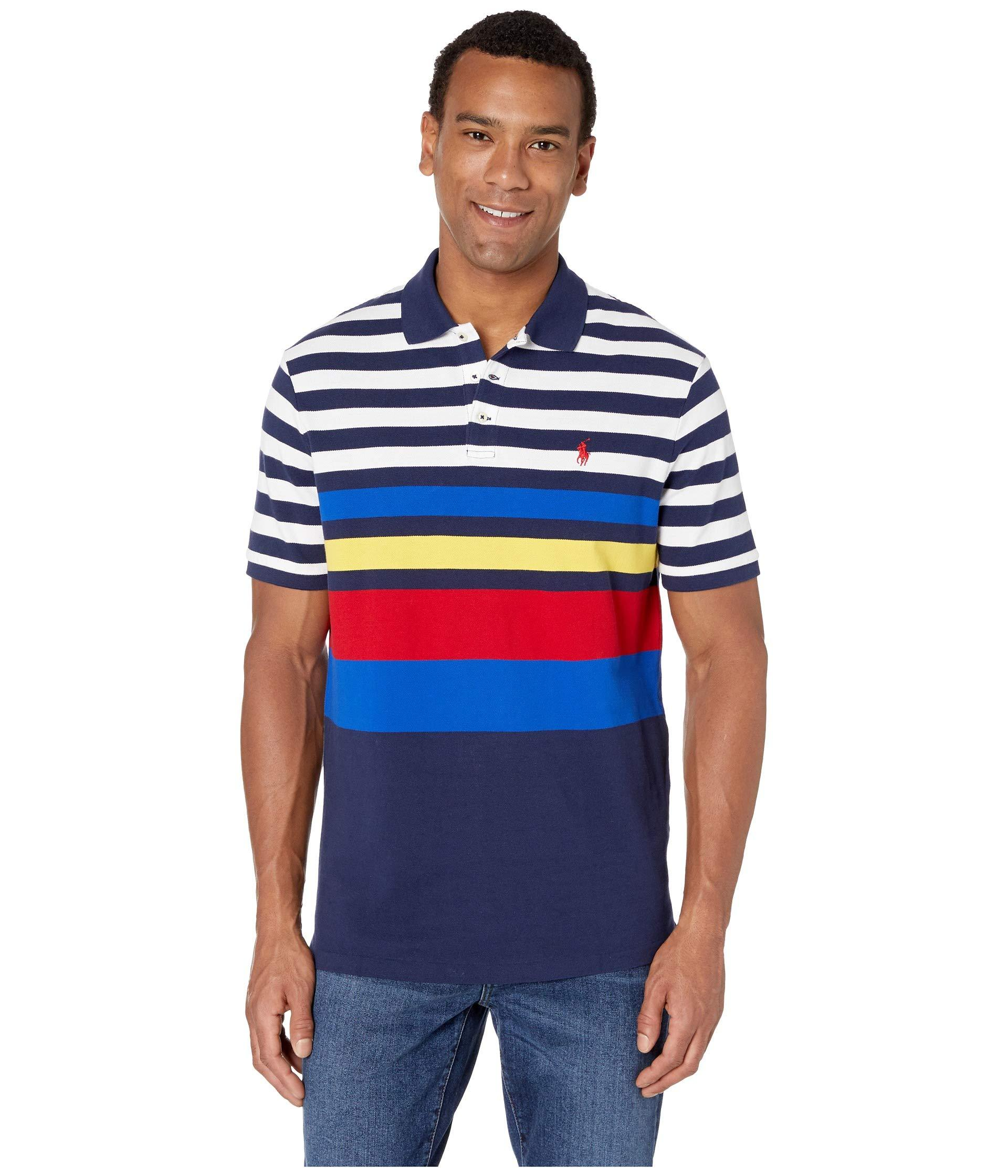 6f811db13a7 Polo Ralph Lauren. Blue Short Sleeve Classic Fit Mesh Polo (newport Navy  Multi) Men's Clothing