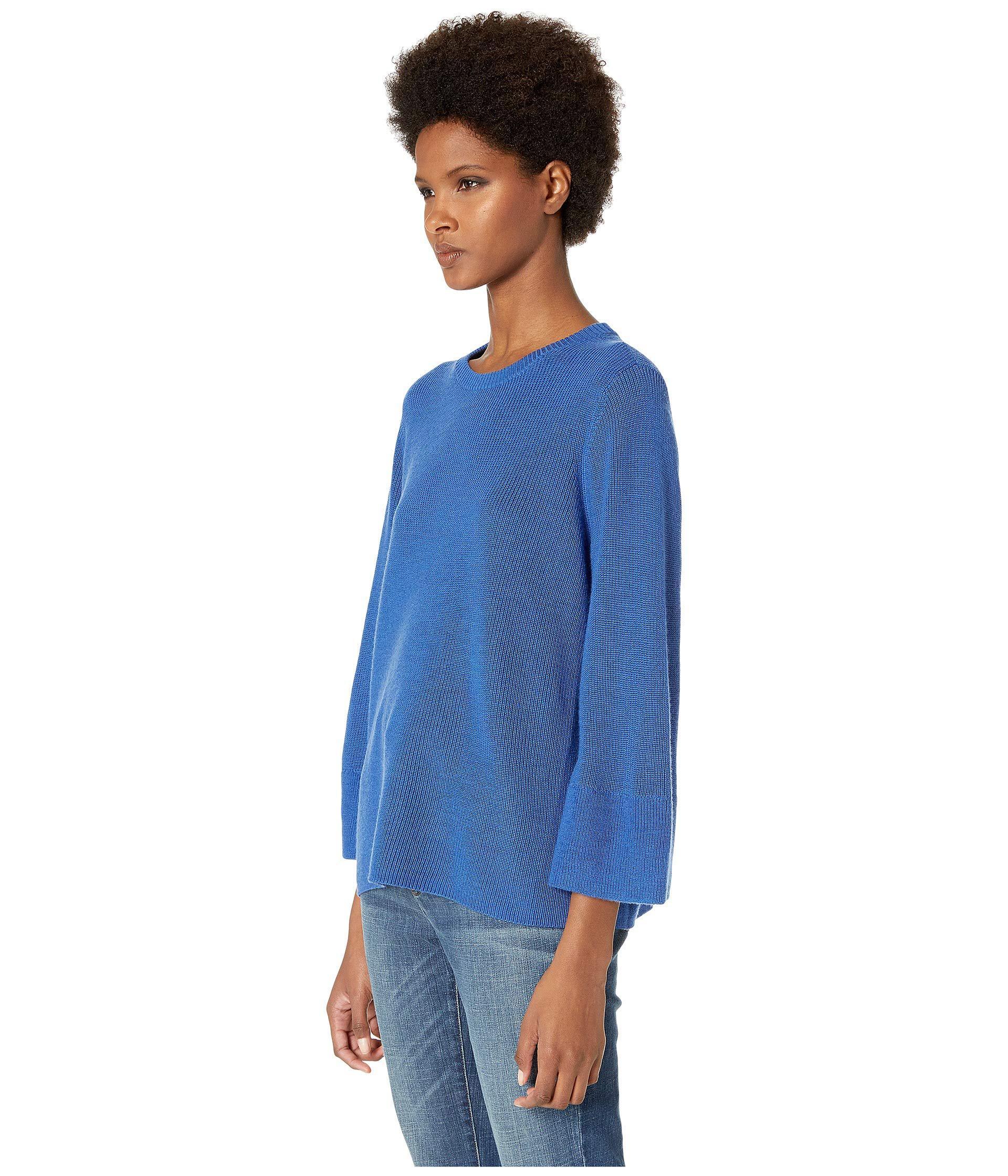 8d19de7eca77bf Lyst - Eileen Fisher Crew Neck 3 4 Sleeve Box-top (neptune) Women s Sweater  in Blue