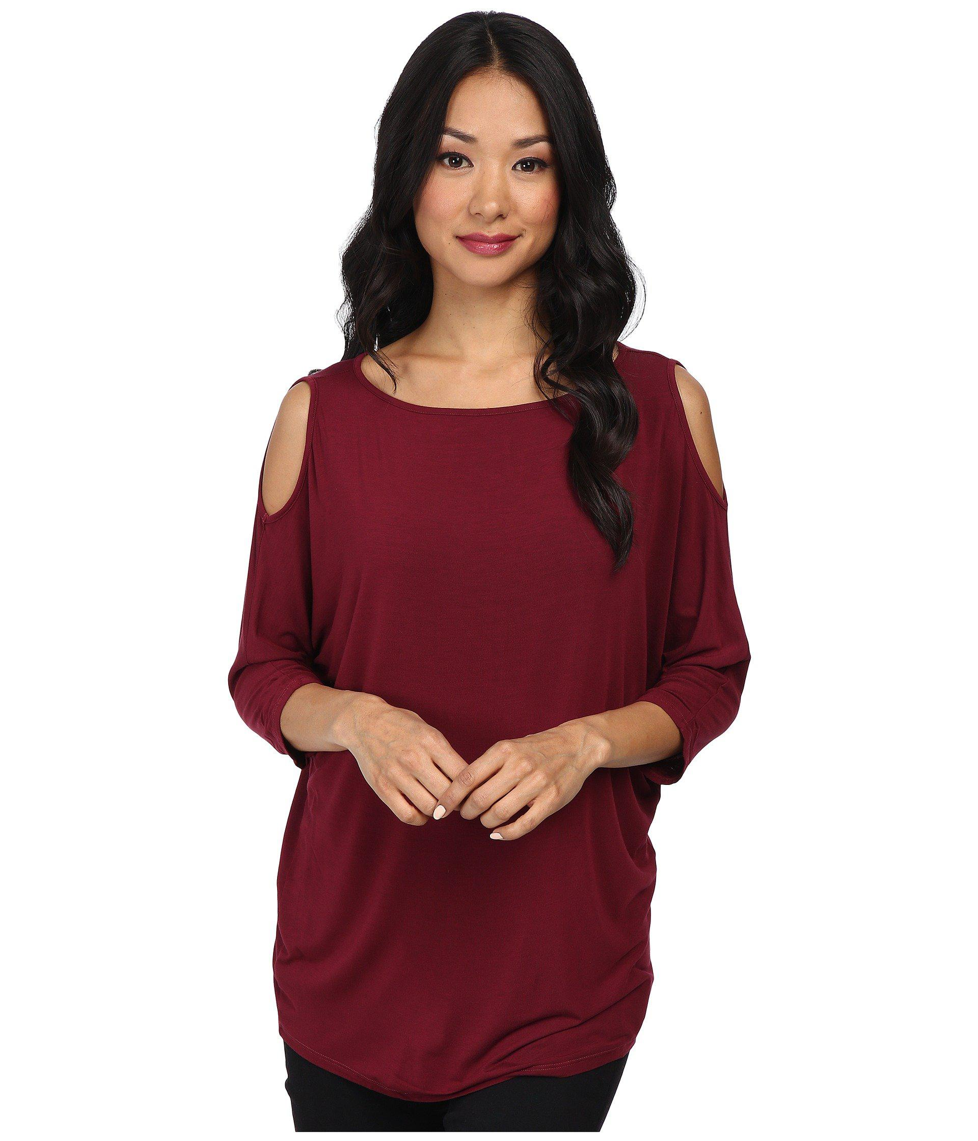 02c5fadec37c8 Lyst - Michael Stars Lycra Jersey 3 4 Sleeve Cold Shoulder Tunic in Red