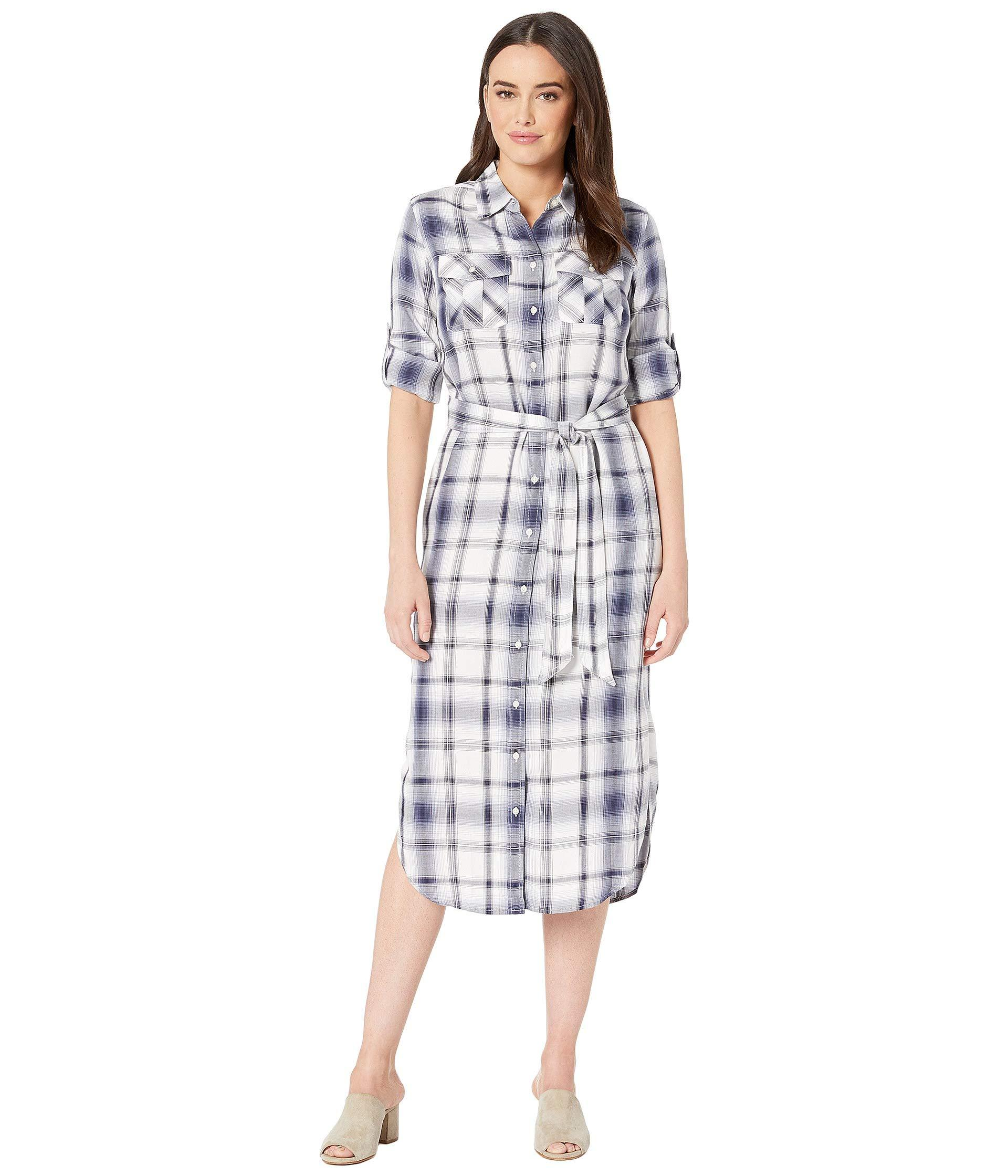 a8e6f6463eda8 Lyst - Lauren by Ralph Lauren Plaid Herringbone Shirtdress (navy ...