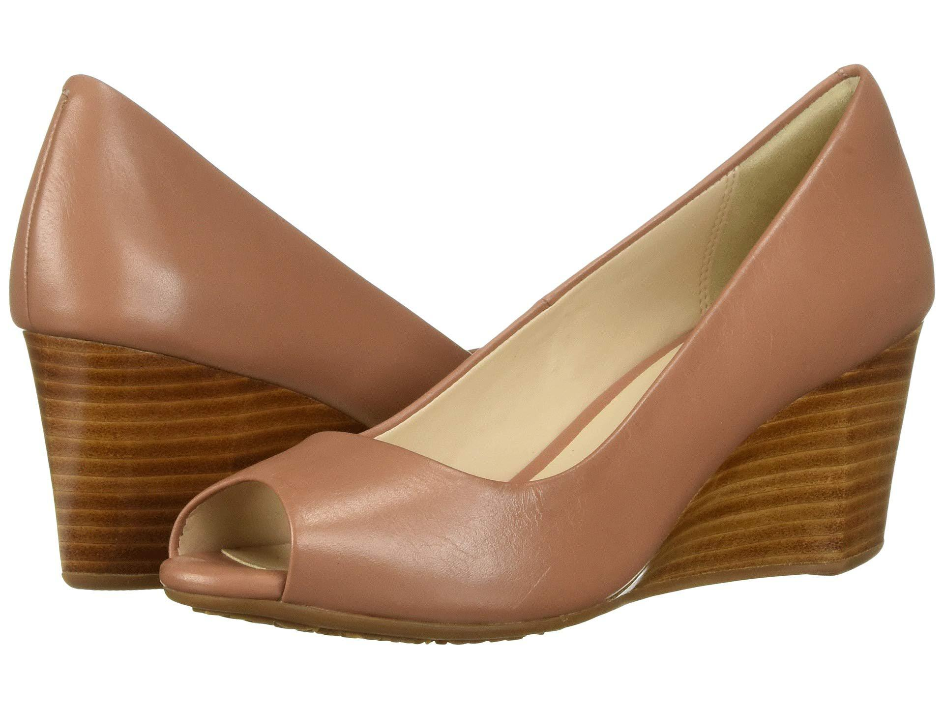 dcc7e49707f Lyst - Cole Haan Sadie Open Toe Wedge 65mm (nude Patent) Women s ...