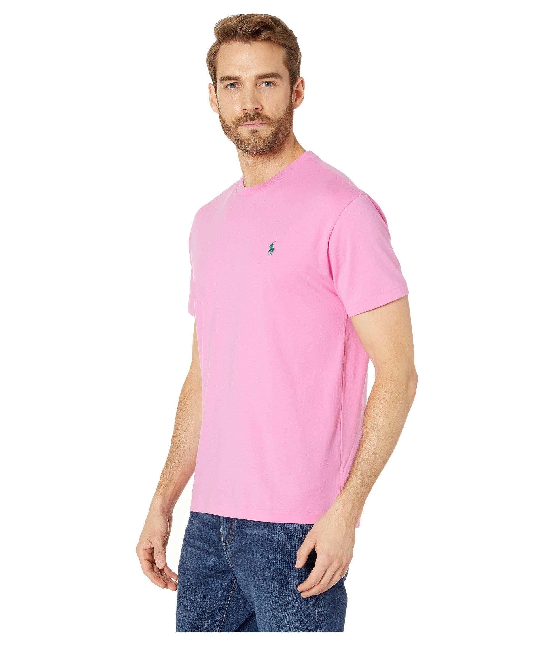 f02b2bd42 Lyst - Polo Ralph Lauren Short Sleeve Classic Fit Crew Neck Tee (hammond  Blue) Men's T Shirt in Pink for Men