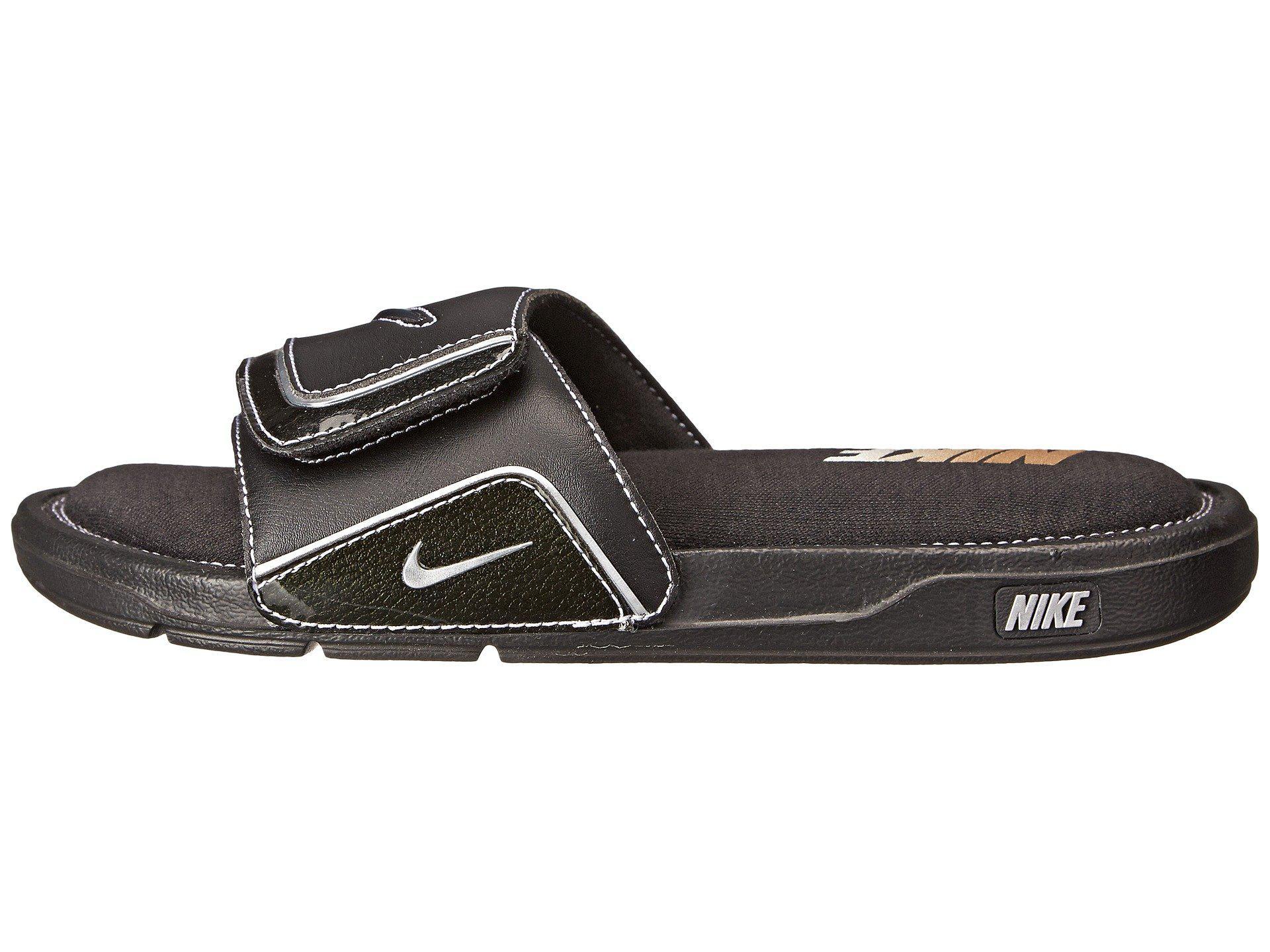Nike Comfort Slide 2 In Black Metallic Silver White Black