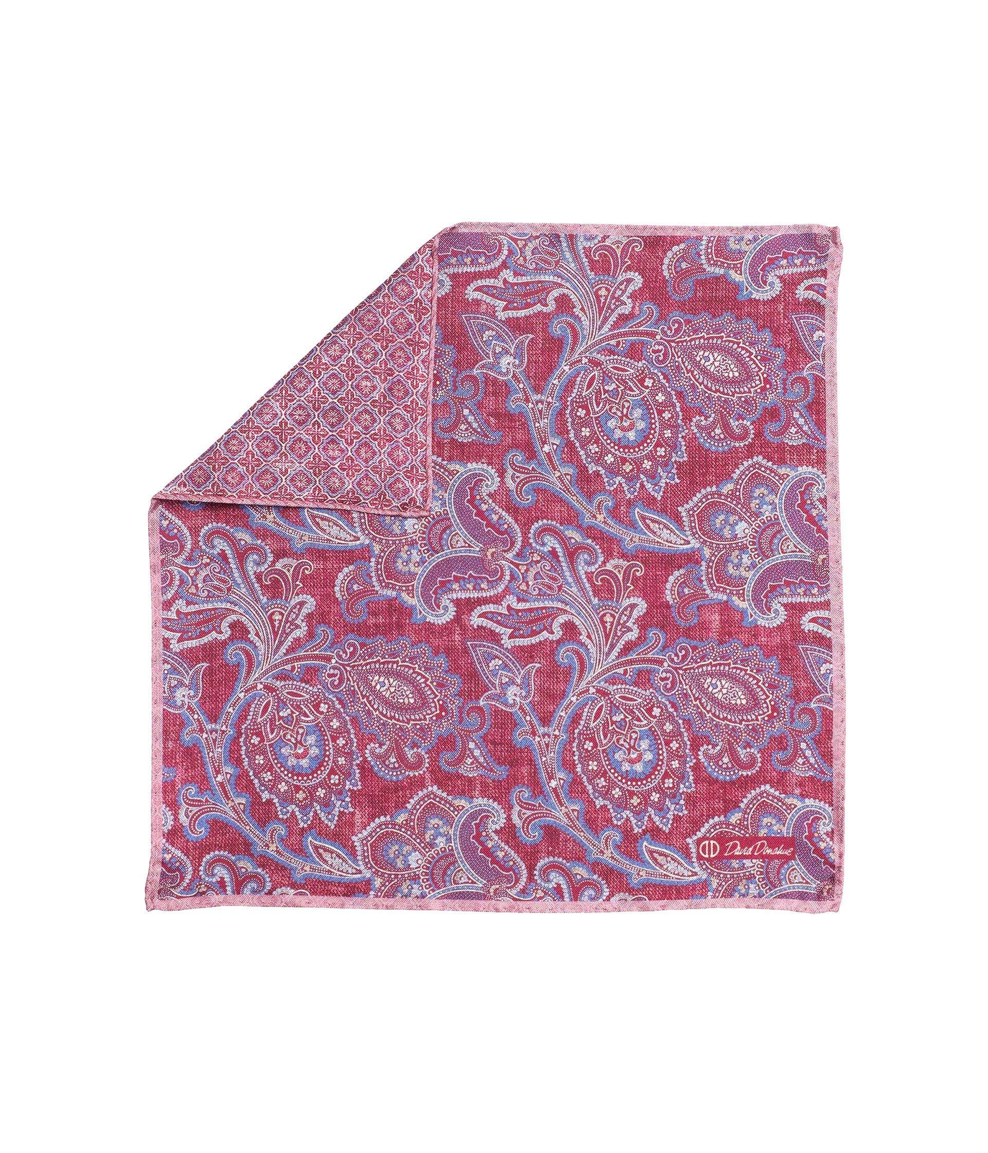 David Donahue Mens Two Sided Purple Paisley Pocket Square