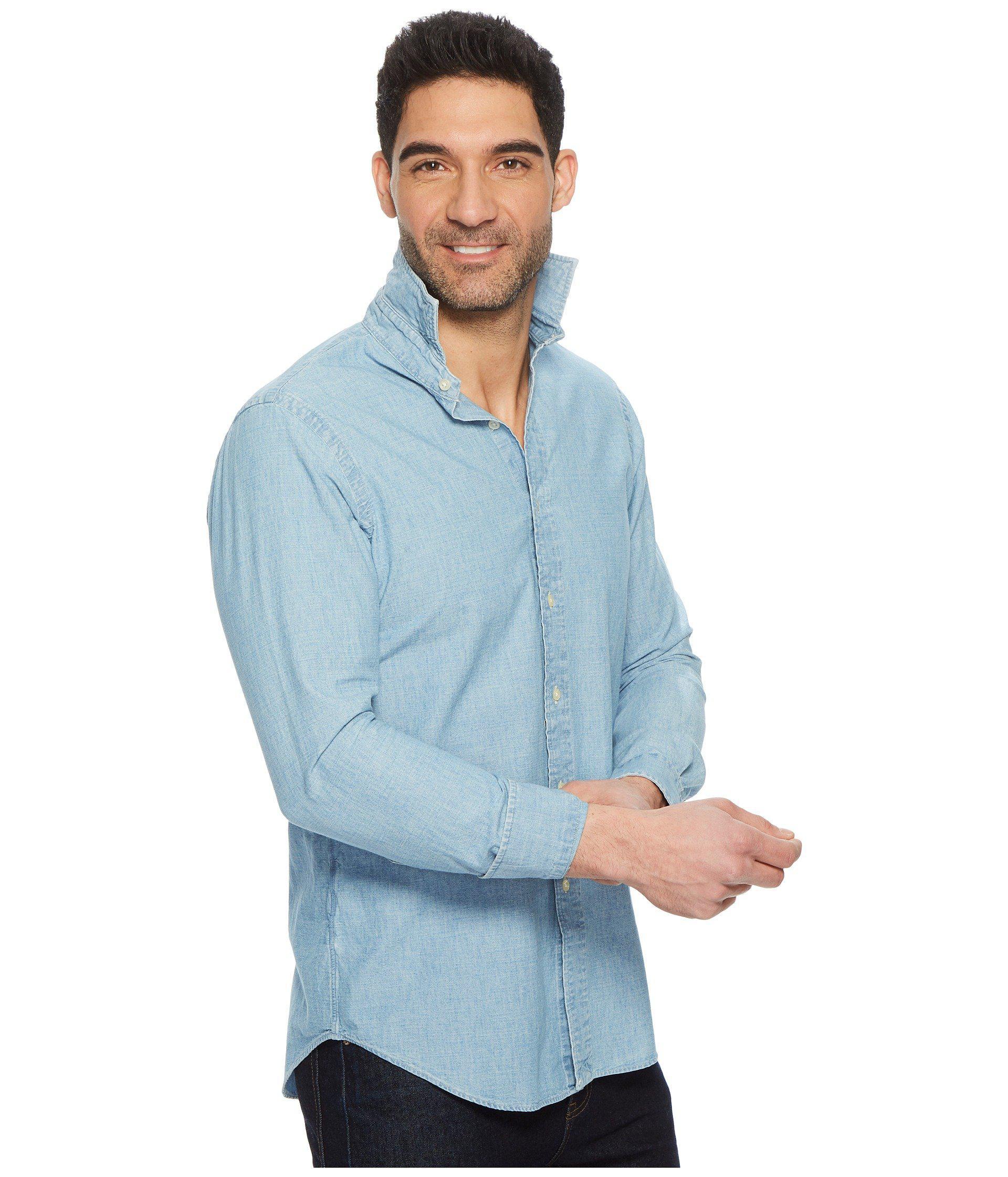 d026b1212 Polo Ralph Lauren - Chambray Long Sleeve Sport Shirt (indigo Blue) Men s  Clothing for. View fullscreen