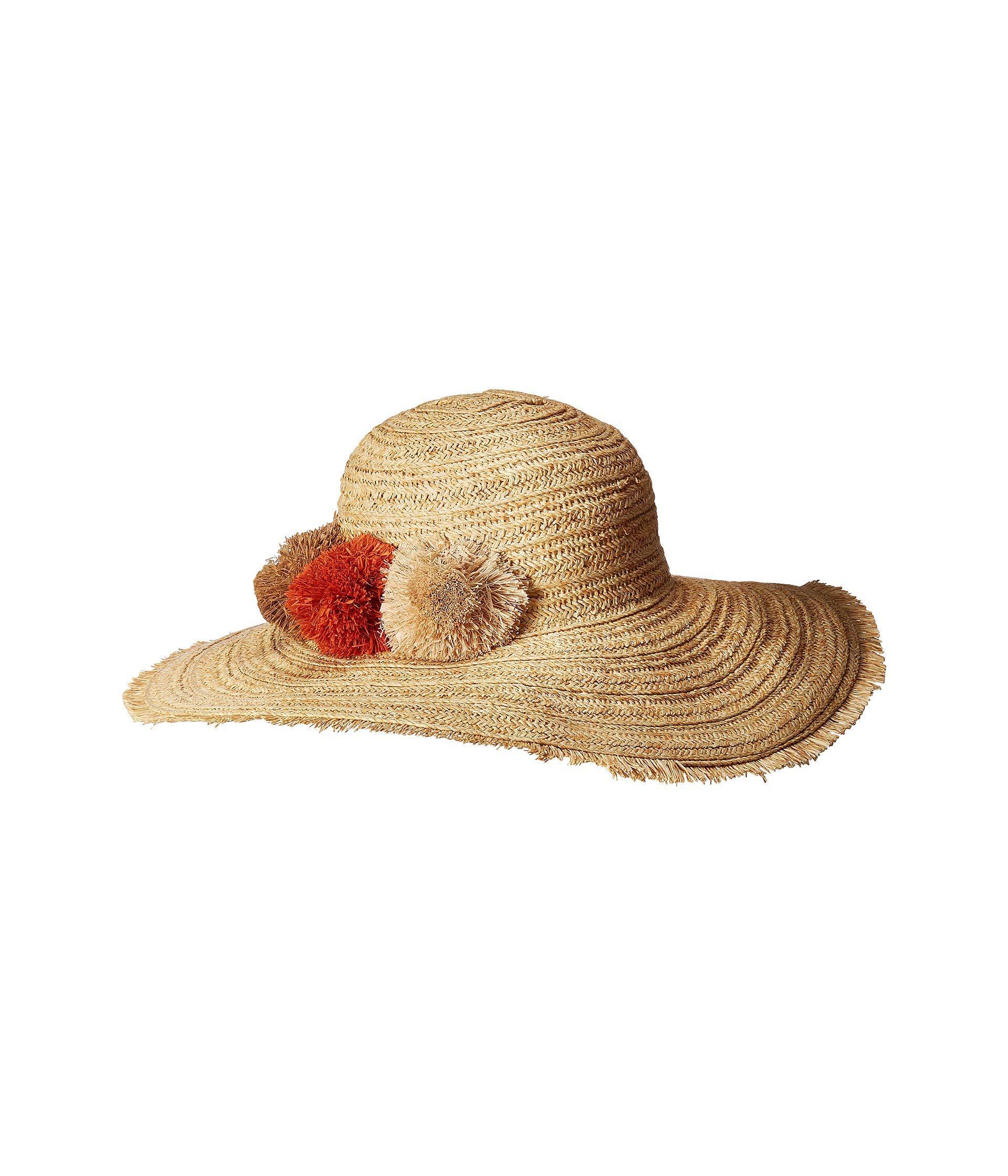 2a2cd07b Lyst - San Diego Hat Company Paper Straw Hat With Raffia Poms ...