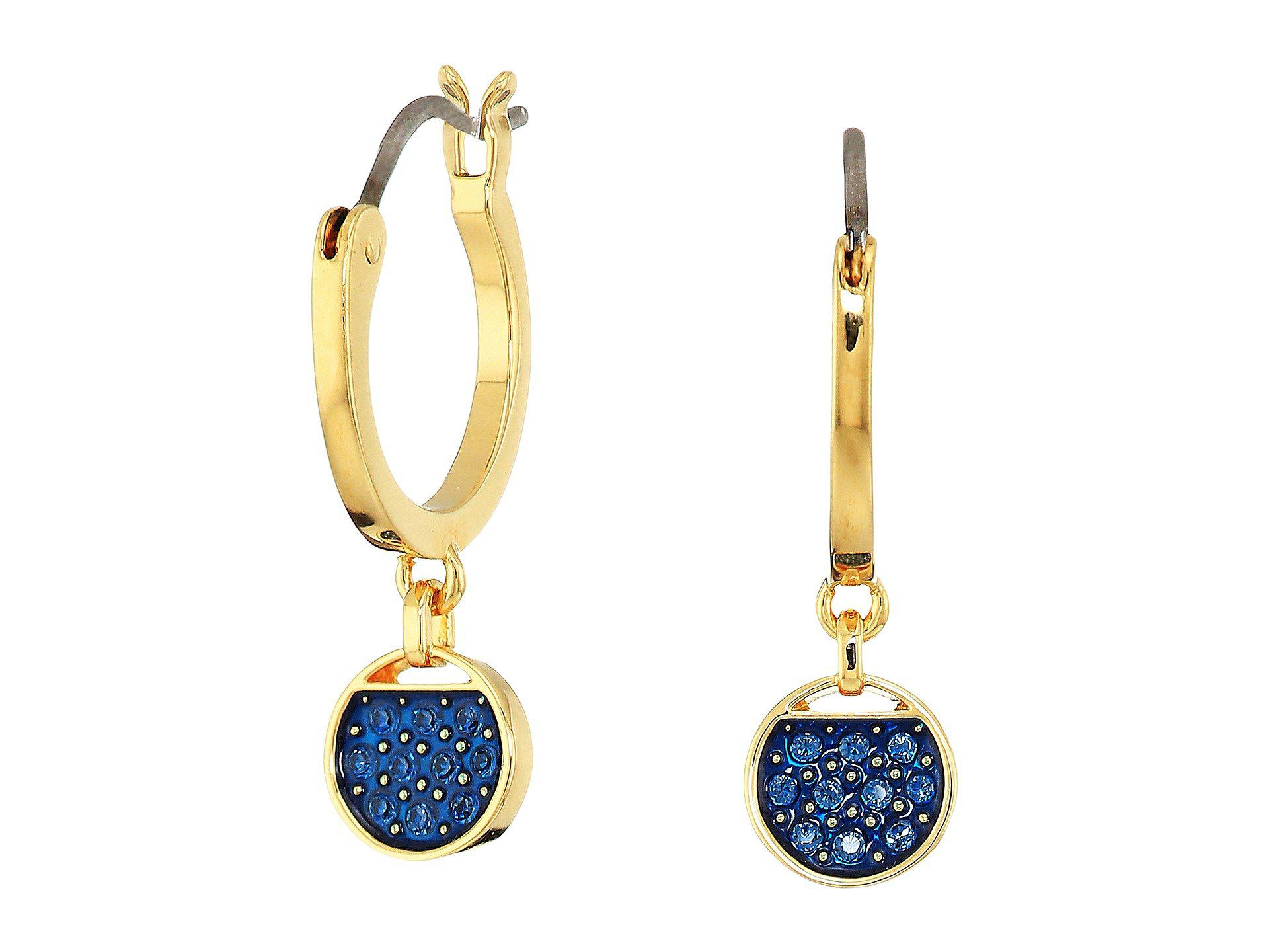 Swarovski Ginger Mini Hoop Pierced Earrings, Blue, Gold plating