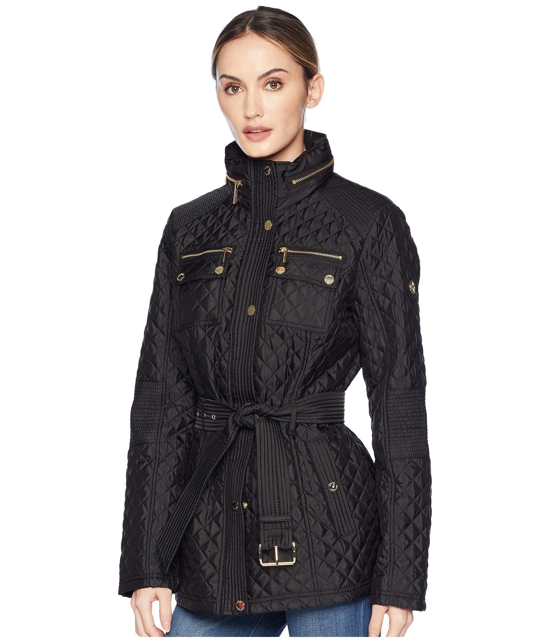 b687caa9049 Lyst - MICHAEL Michael Kors Belted Short Snap Front Quilt M423454gz (navy)  Women s Coat in Black
