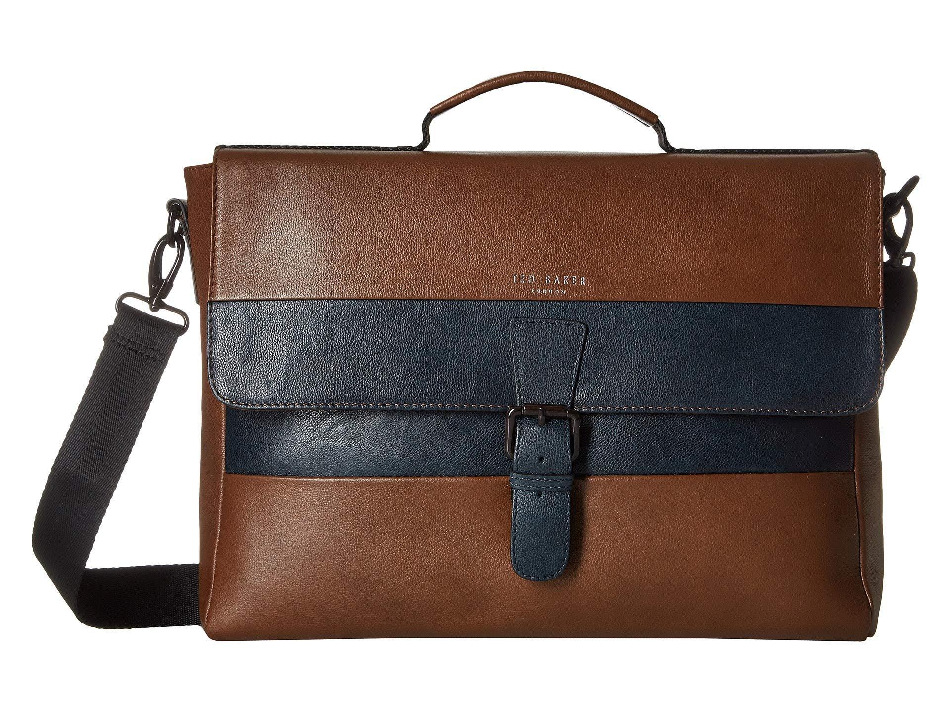 0e9cda0b8 Ted Baker. Men s Brown Bocelli Striped Leather Messenger Bag ...