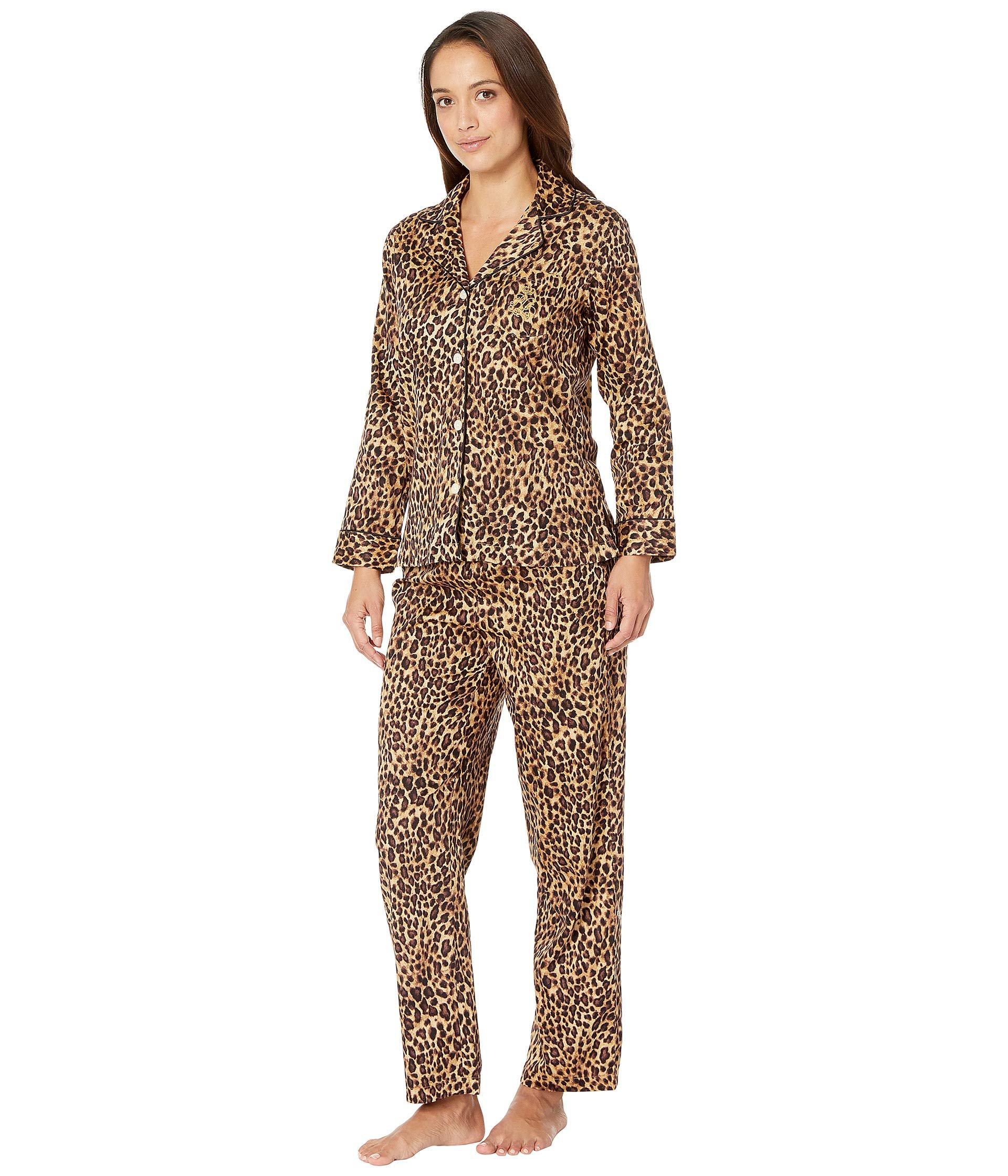 Lyst - Lauren By Ralph Lauren Petite Sateen Long Sleeve Classic Notch  Collar Pajama Set (ivory Floral Print) Women s Pajama Sets in Brown 301f18046
