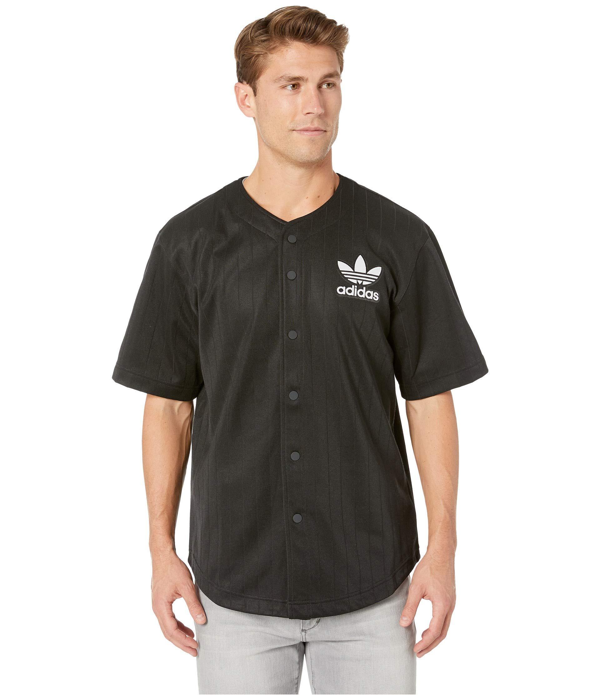 adidas Originals Satin Baseball Jersey (black/white) Men's Short ...