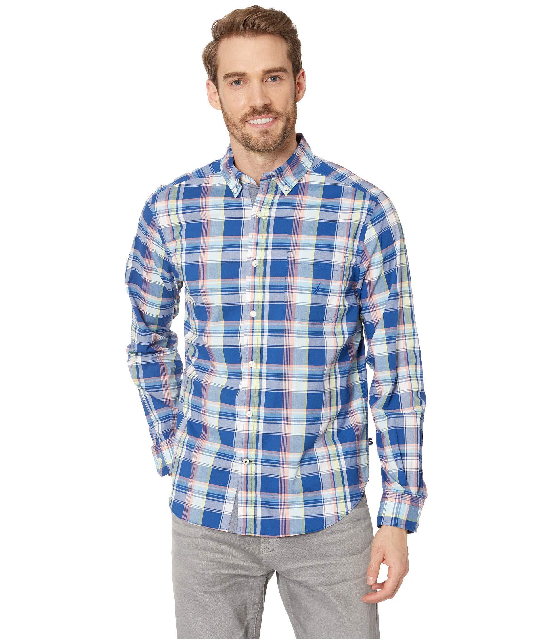 7a46cf73b53877 Lyst - Nautica Long Sleeve Classic Fit Plaid Shirt (limoges) Men's ...