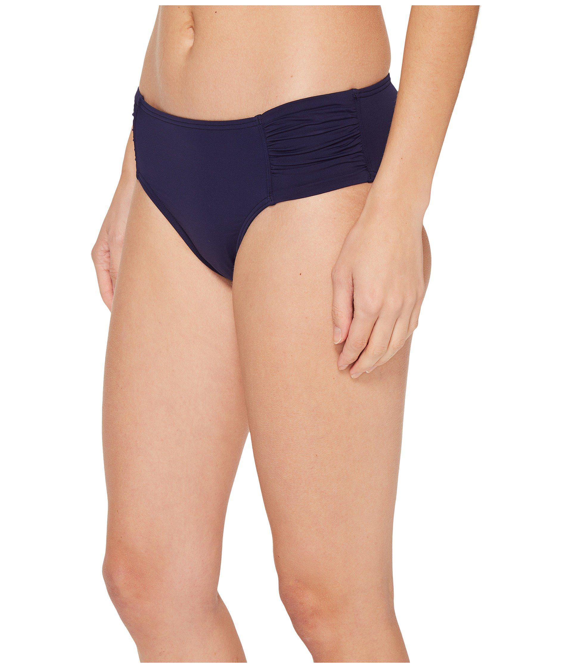 b4ca7feee2d0c Lyst - Tommy Bahama Pearl High-waist Side-shirred Bikini Bottom (black)  Women s Swimwear in Blue - Save 30.35714285714286%