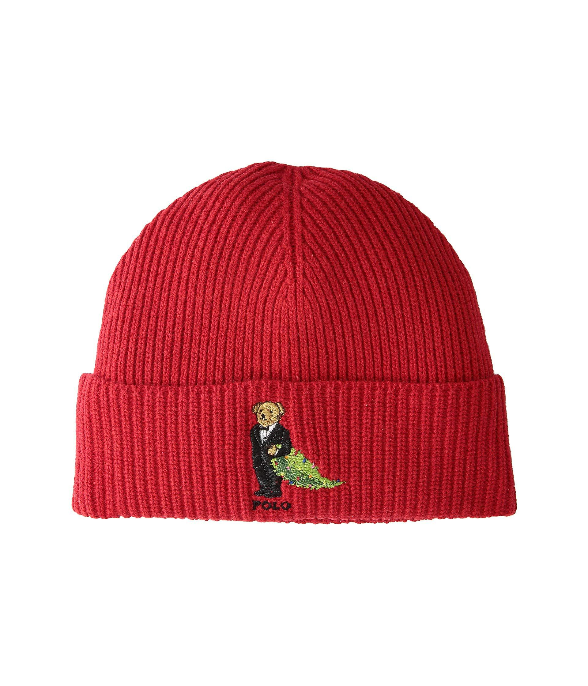 150ea4e0 Polo Ralph Lauren Christmas Tree Bear Cuff Hat (red) Beanies for men