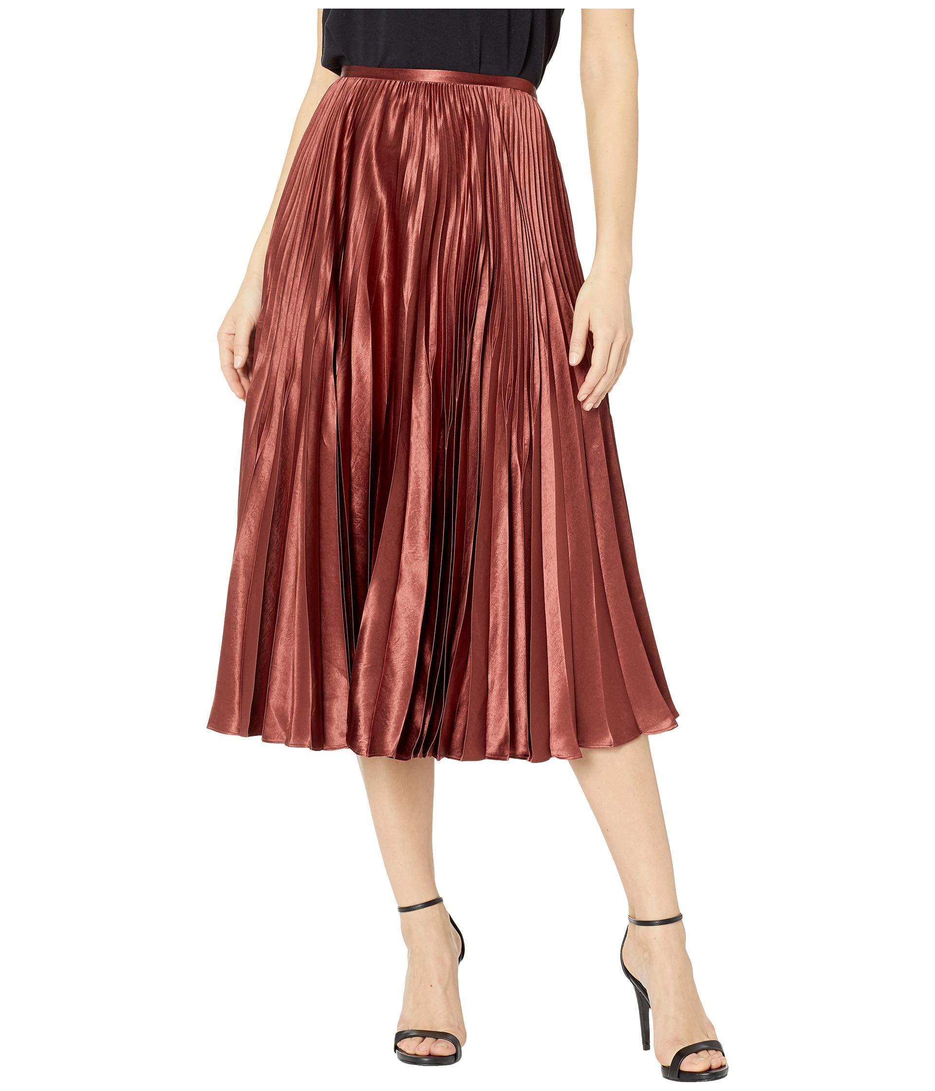 348868cf35 Vince - Red Pleated Satin Midi Skirt Brick - Lyst. View fullscreen