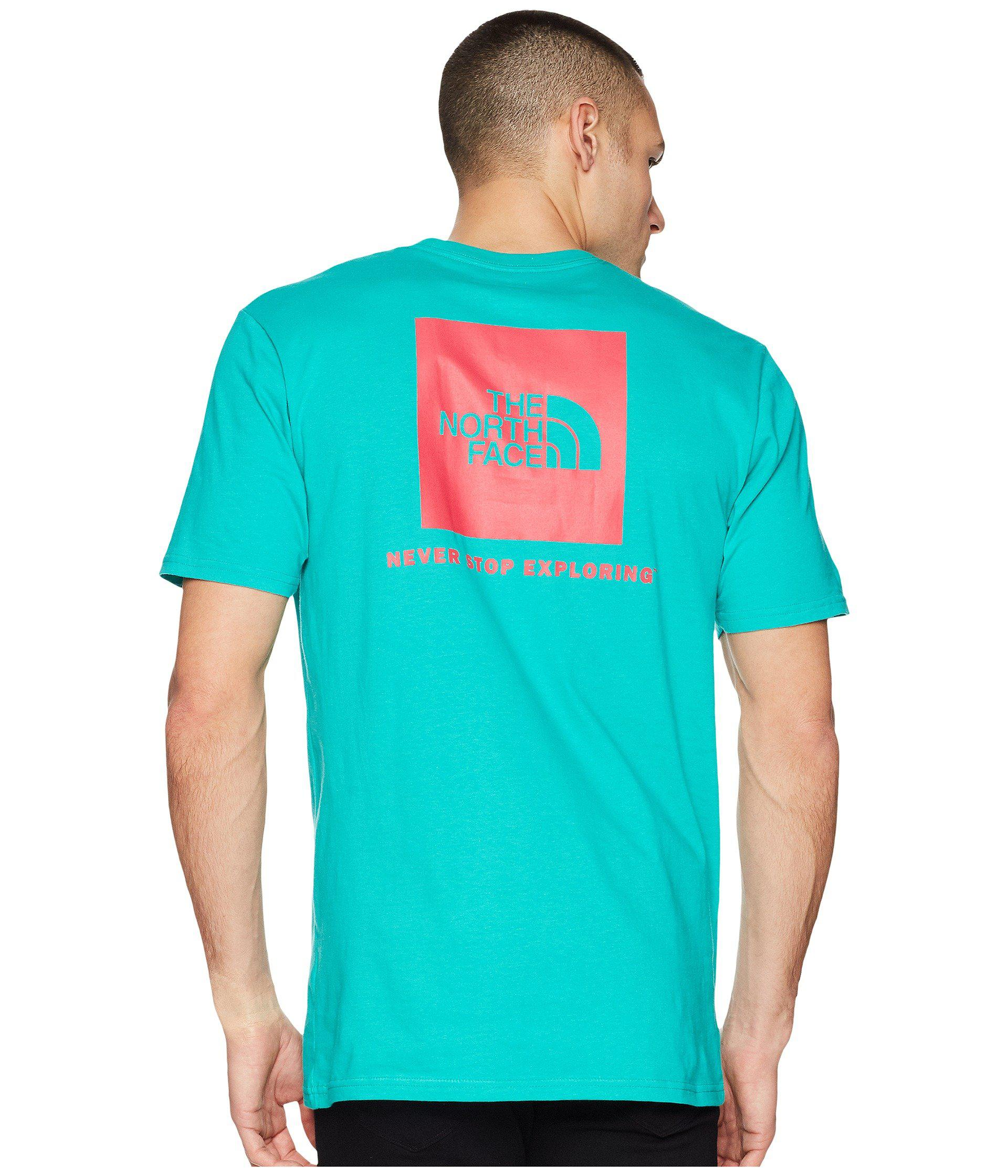 c521f2046 The North Face Short Sleeve Red Box Tee (shady Blue/tnf White) Men's T  Shirt for men
