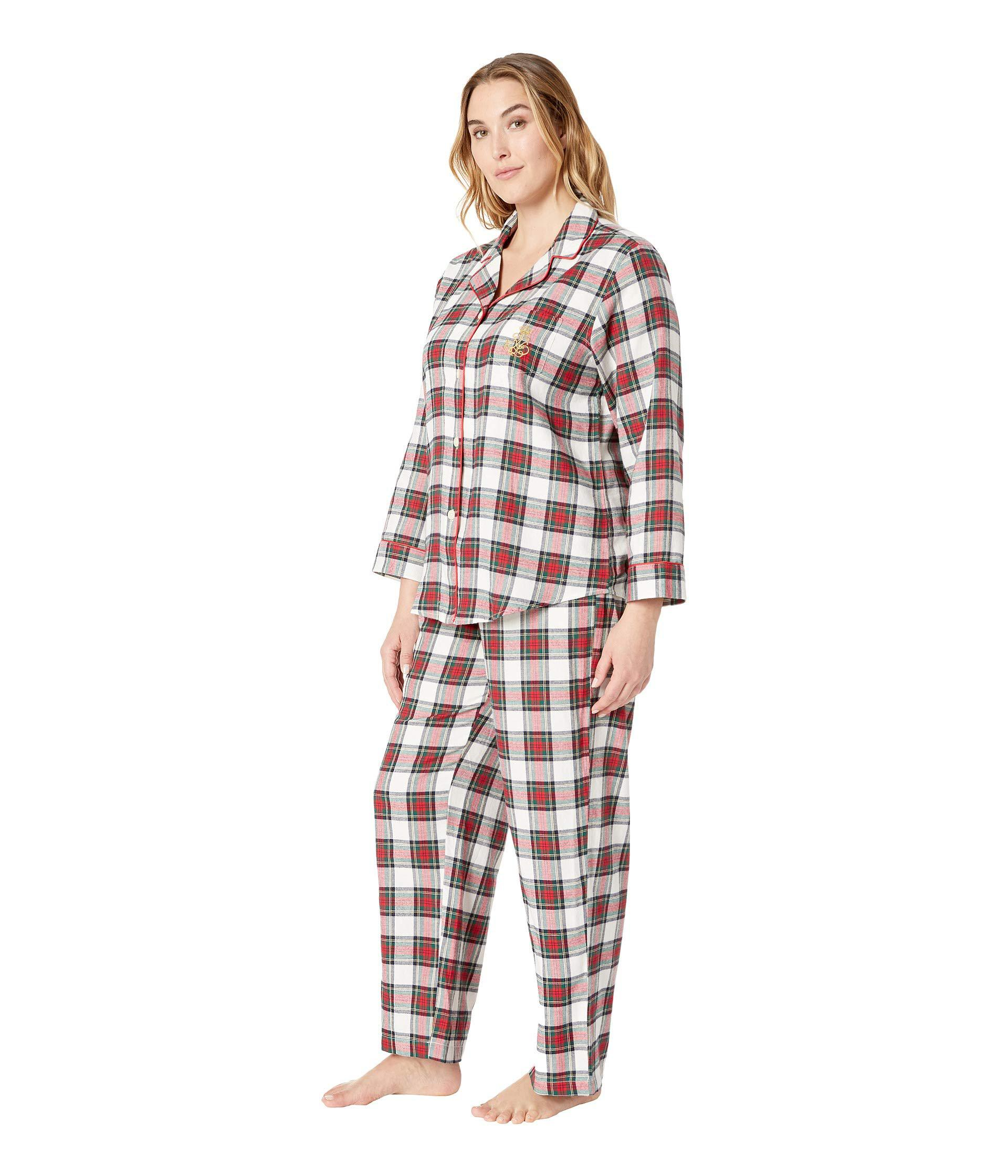 Lyst - Lauren By Ralph Lauren Plus Size Brushed Twill Long Sleeve Classic  Notch Collar Pajama Set (ivory Plaid) Women s Pajama Sets in Red 43029e370