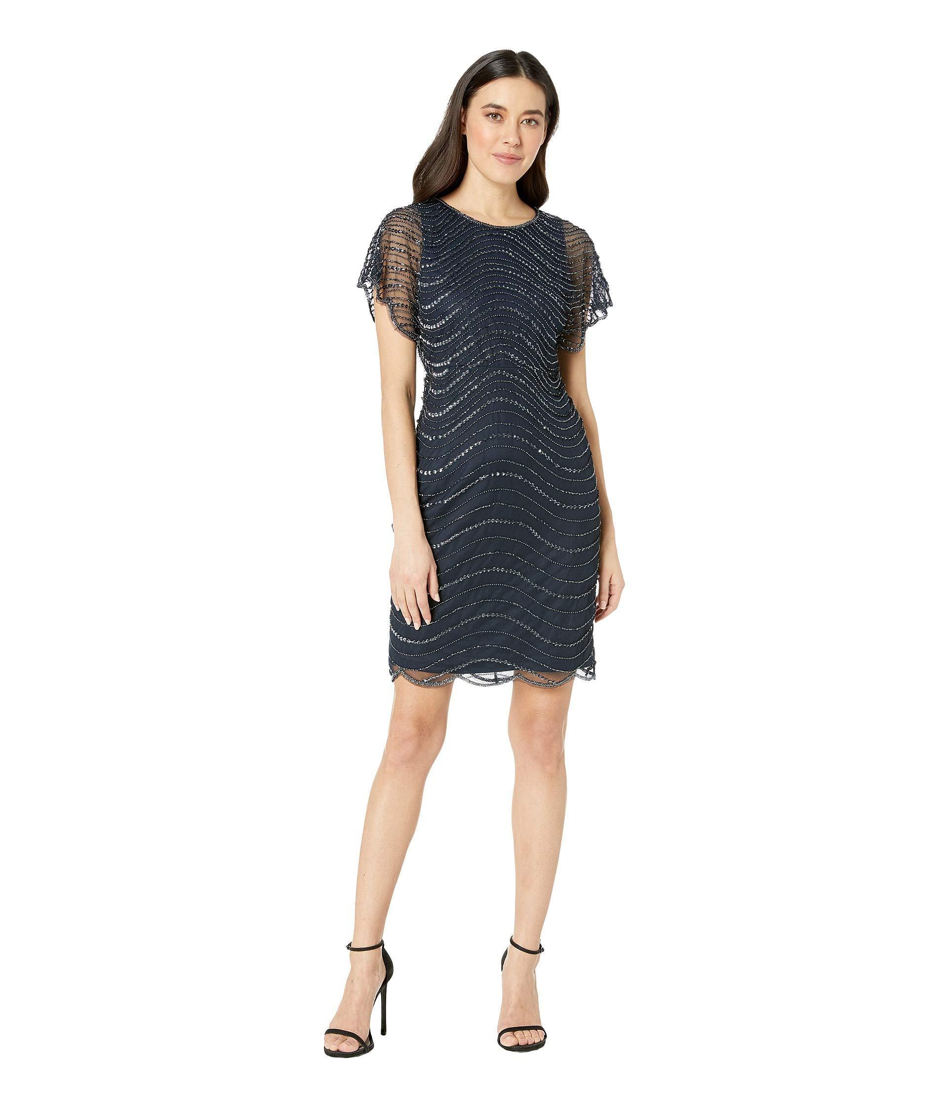 fc2e0db5 Lyst - Adrianna Papell Petite Beaded Flounce Sleeve Short Dress ...